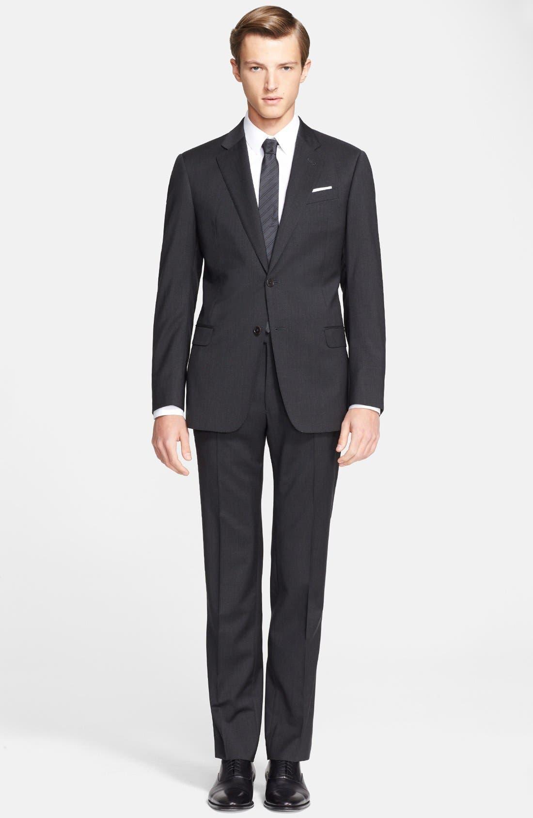 'G-Line' Trim Fit Solid Wool Suit,                             Main thumbnail 1, color,                             020