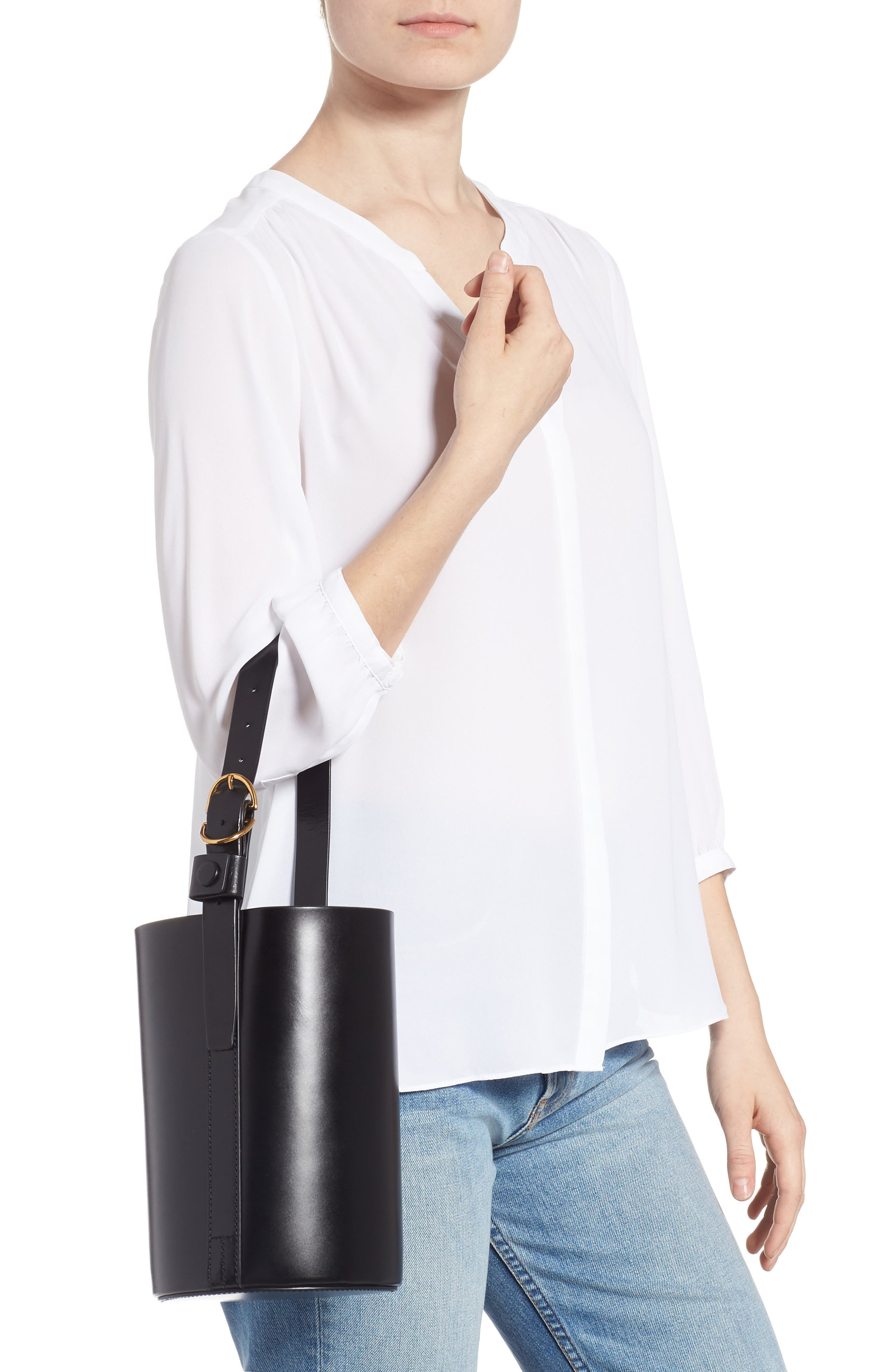 Small Leather Bucket Bag,                             Alternate thumbnail 2, color,                             BLACK