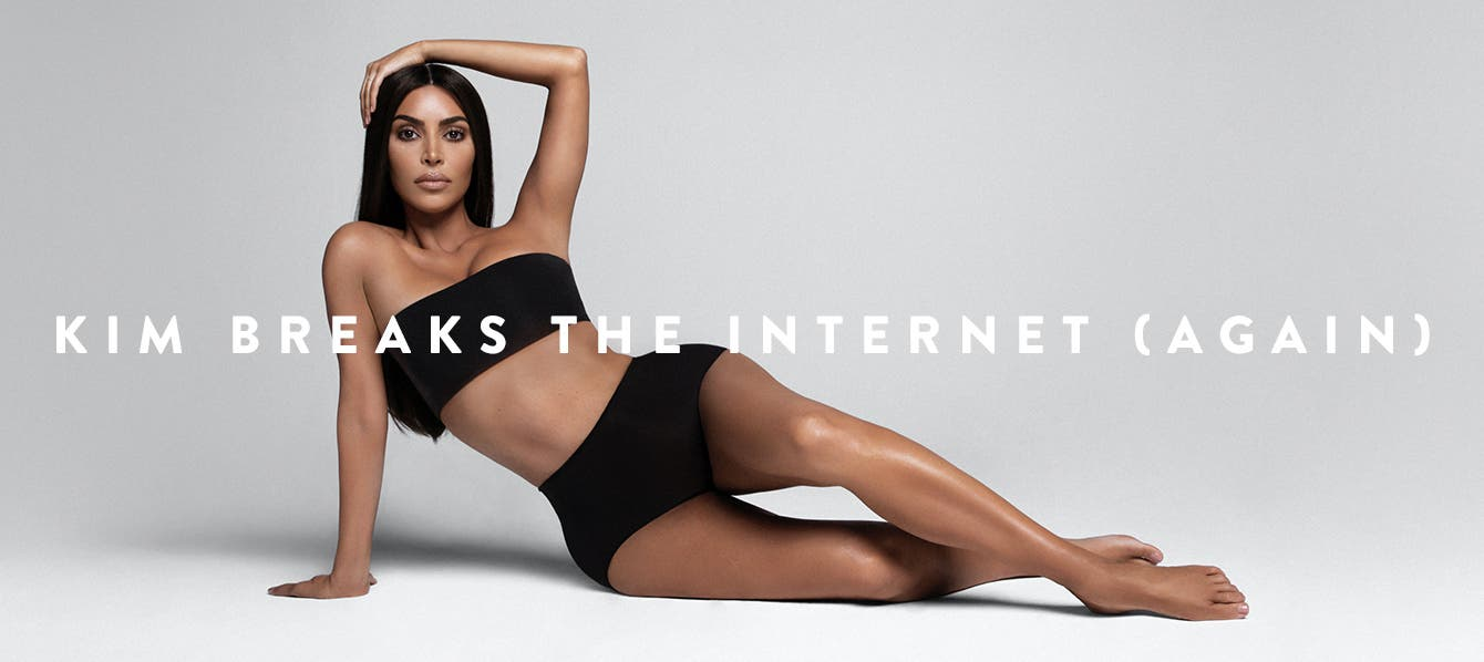 Kim Kardashian West models SKIMS, her line of shapewear and underwear.