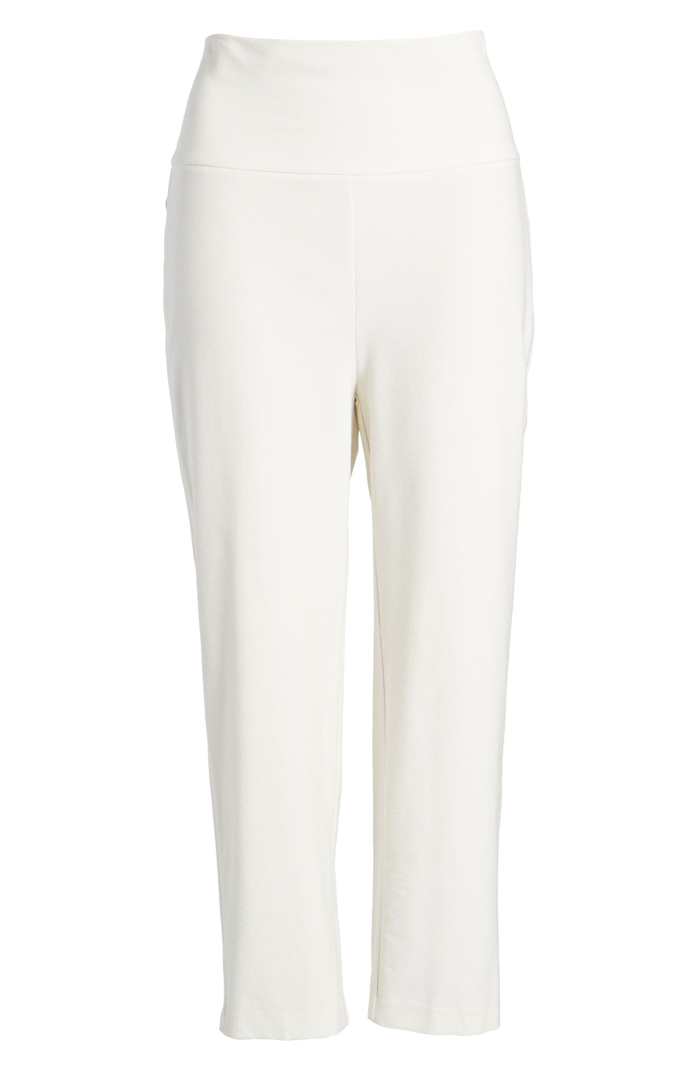 Foldover Waist Stretch Crepe Capri Pants,                             Alternate thumbnail 7, color,                             907