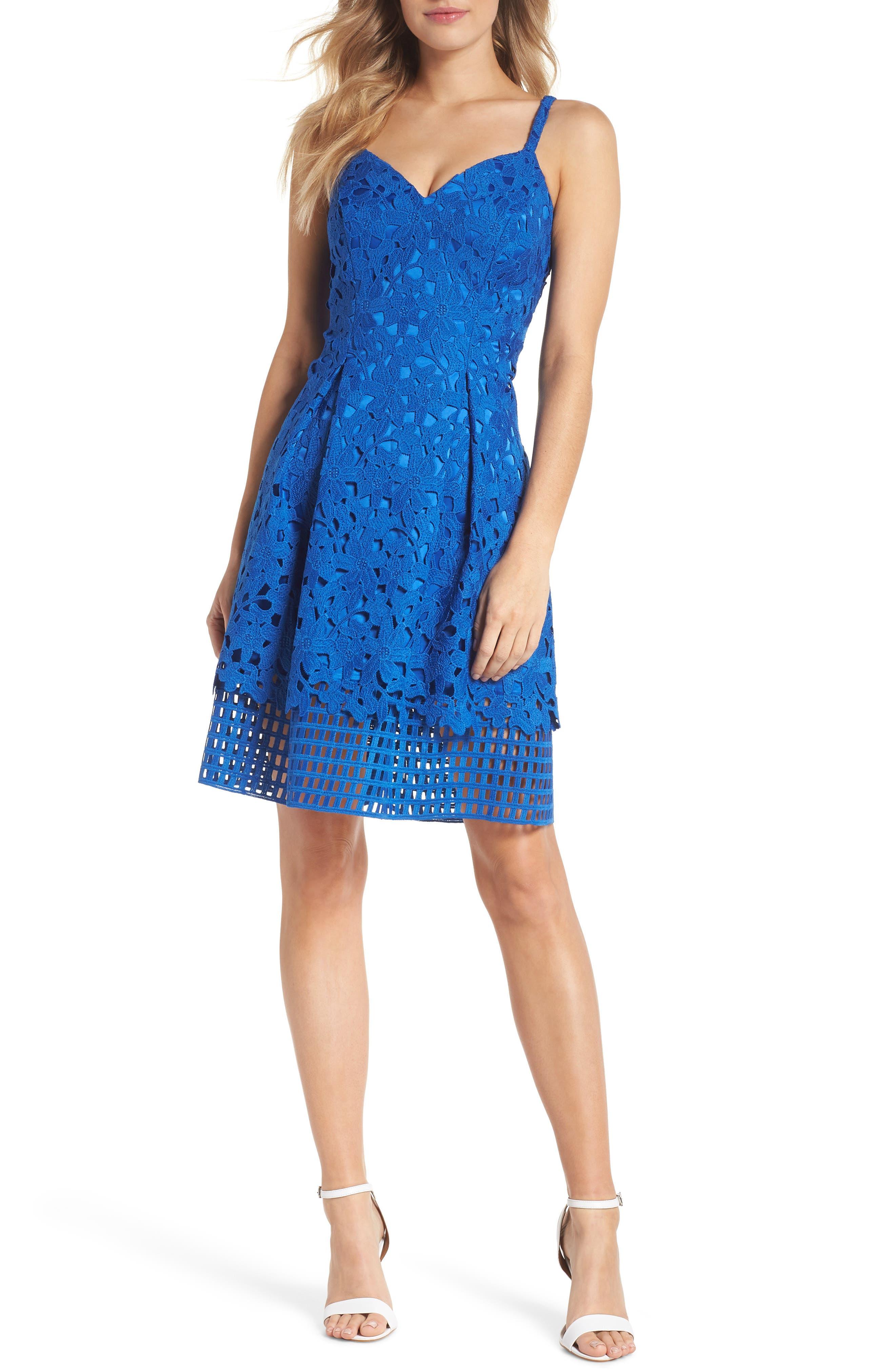 Lace Fit & Flare Dress,                             Main thumbnail 1, color,                             491