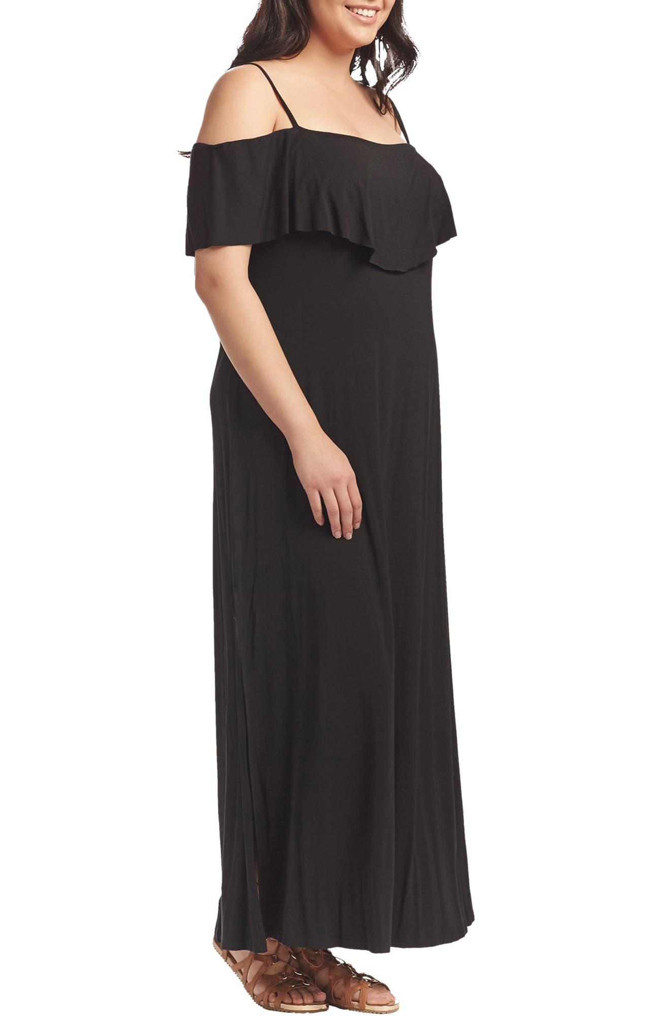 Tacita Cold Shoulder Maxi Dress,                             Alternate thumbnail 3, color,                             001