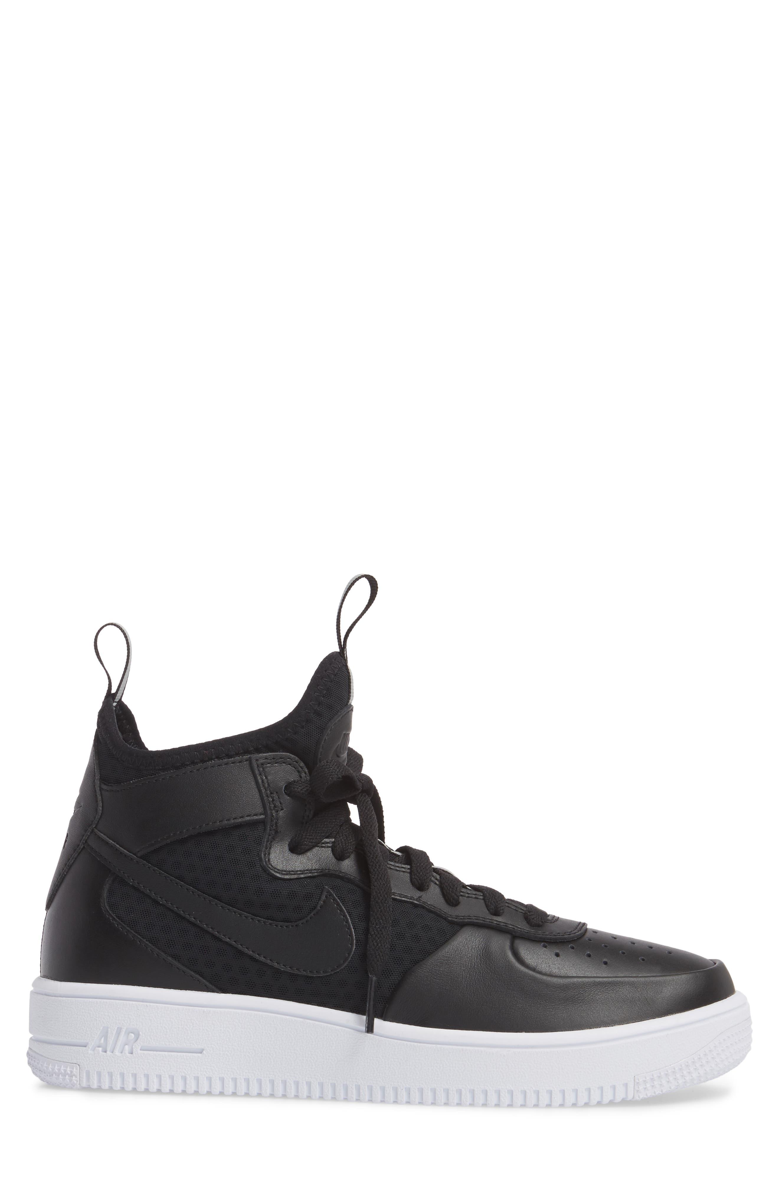 Air Force 1 Ultraforce Mid Sneaker,                             Alternate thumbnail 3, color,                             001