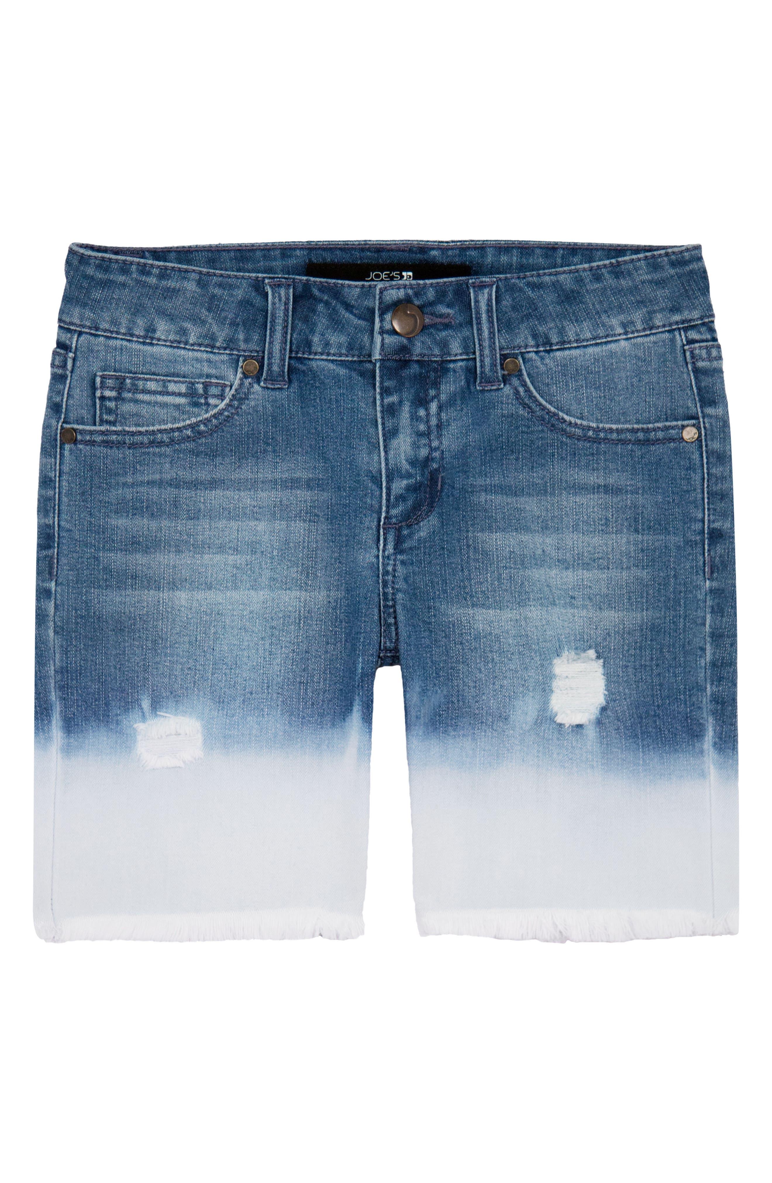 Joe's Distressed Bleach Denim Shorts,                             Main thumbnail 1, color,                             WVE-WAVE