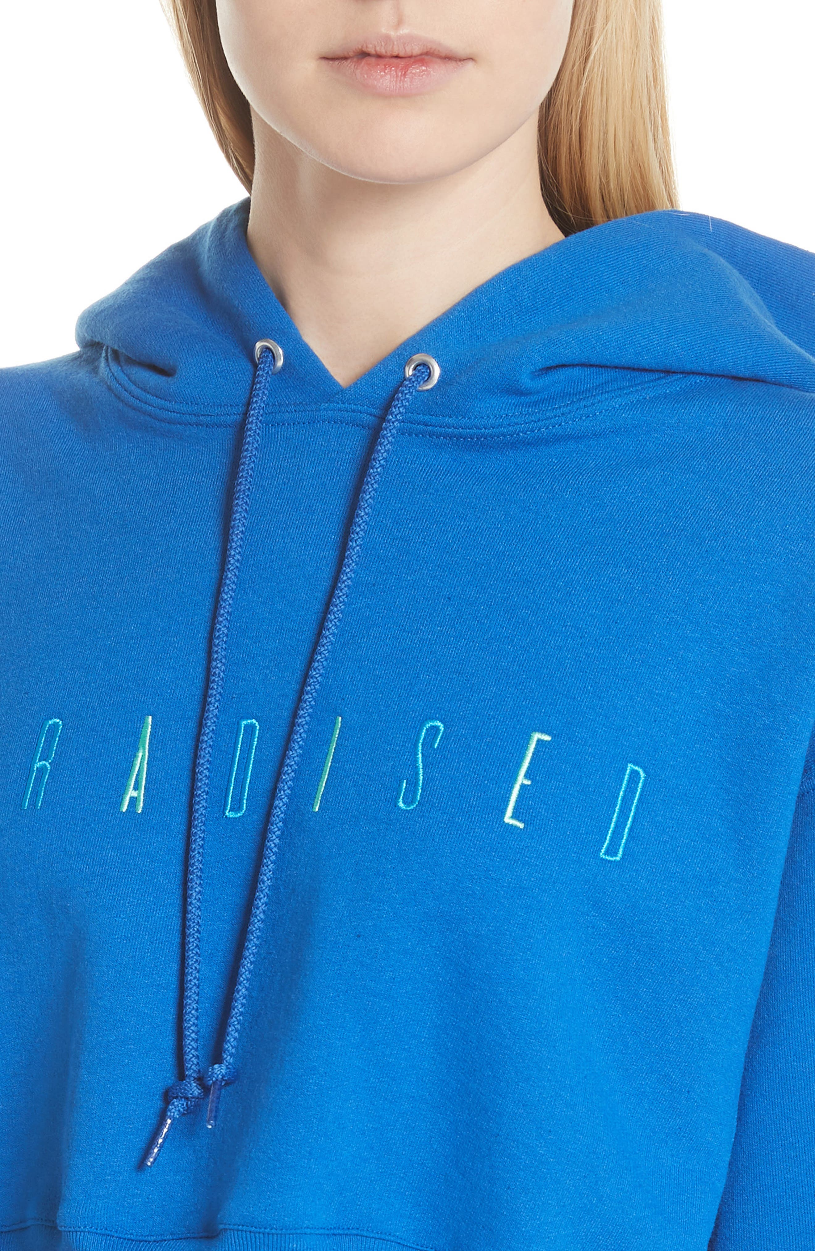 Logo Embroidered Crop Hoodie,                             Alternate thumbnail 4, color,                             ROYAL