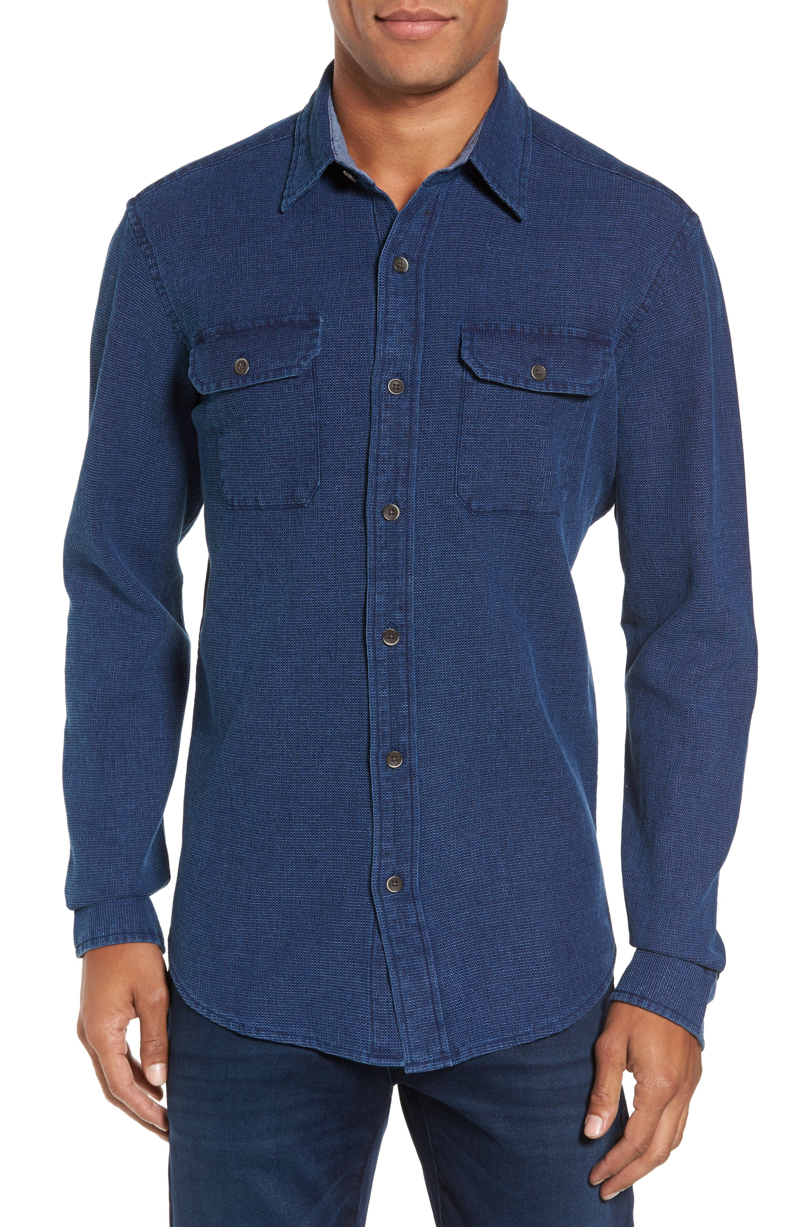 Regular Fit Indigo Waffle Sport Shirt,                             Main thumbnail 1, color,                             478