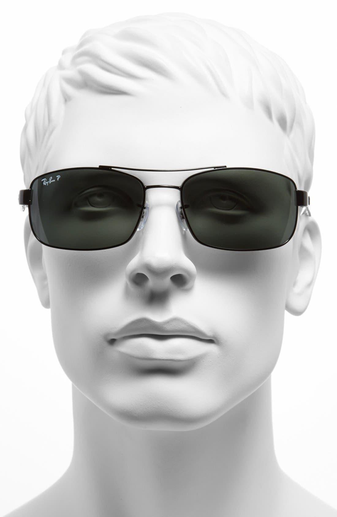 62mm Polarized Sunglasses,                             Alternate thumbnail 4, color,                             BLACK/ GREEN P