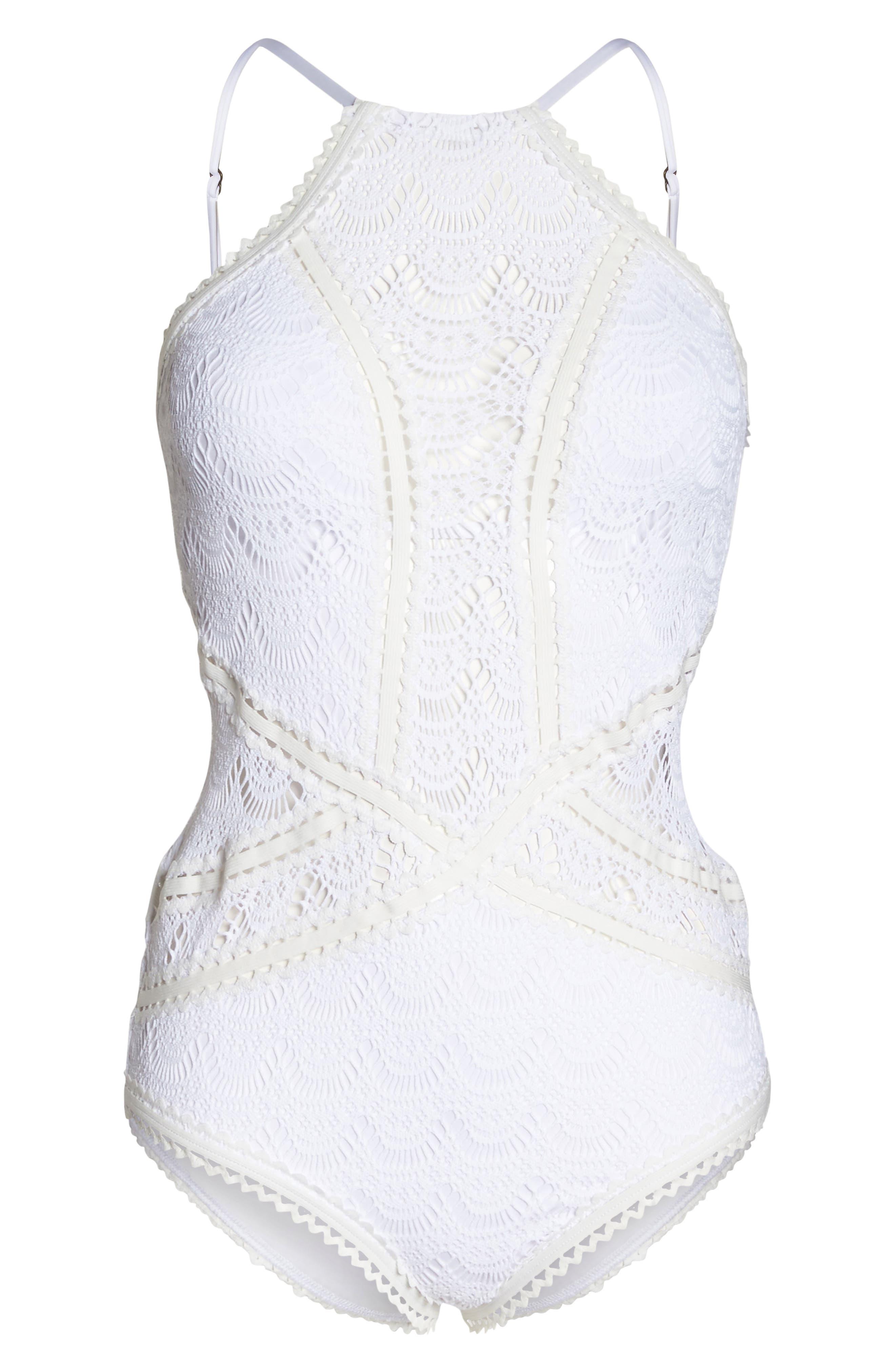 Crochet One-Piece Swimsuit,                             Alternate thumbnail 6, color,                             WHITE