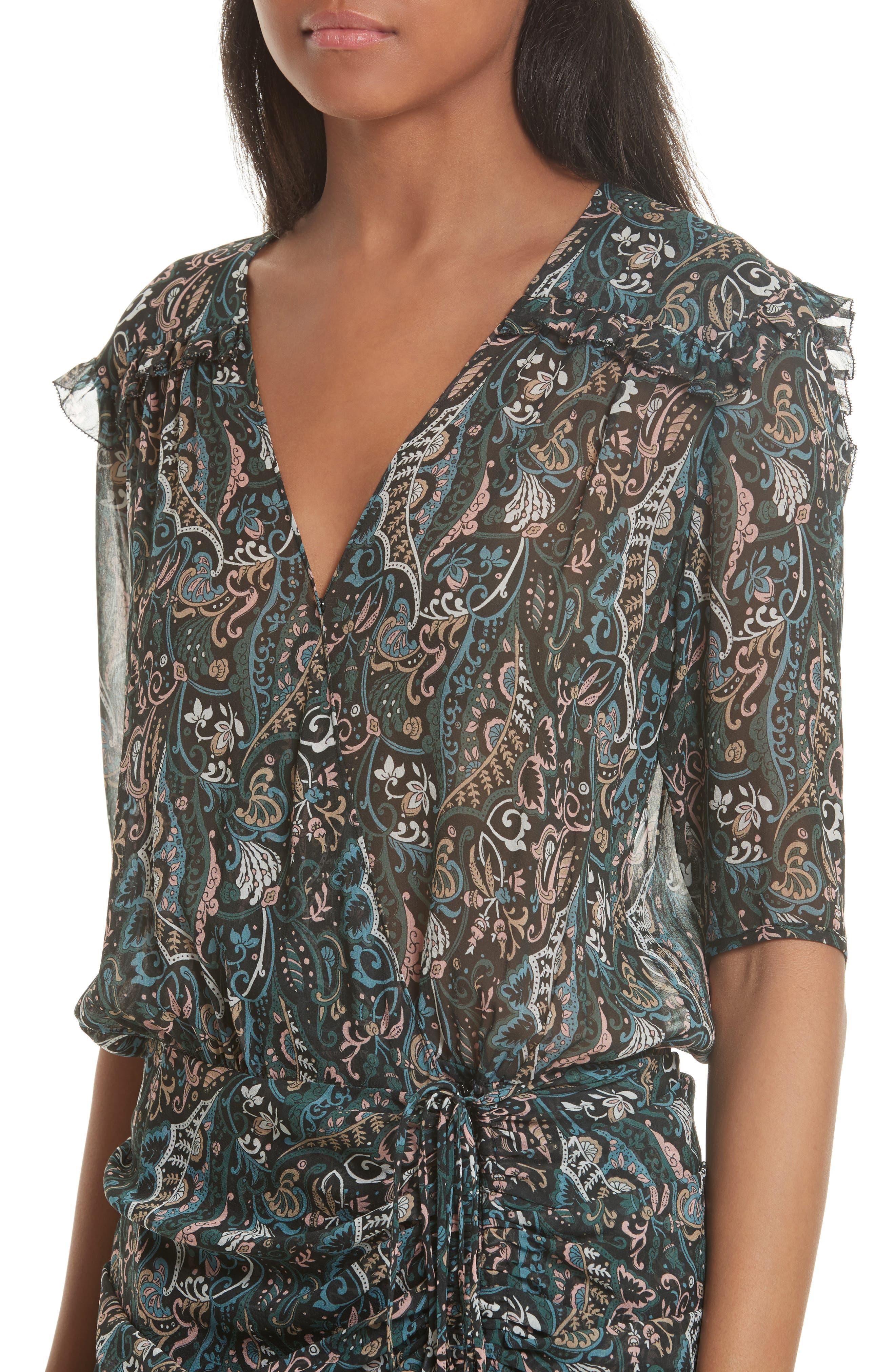 Retro Paisley Print Flounce Silk Dress,                             Alternate thumbnail 4, color,