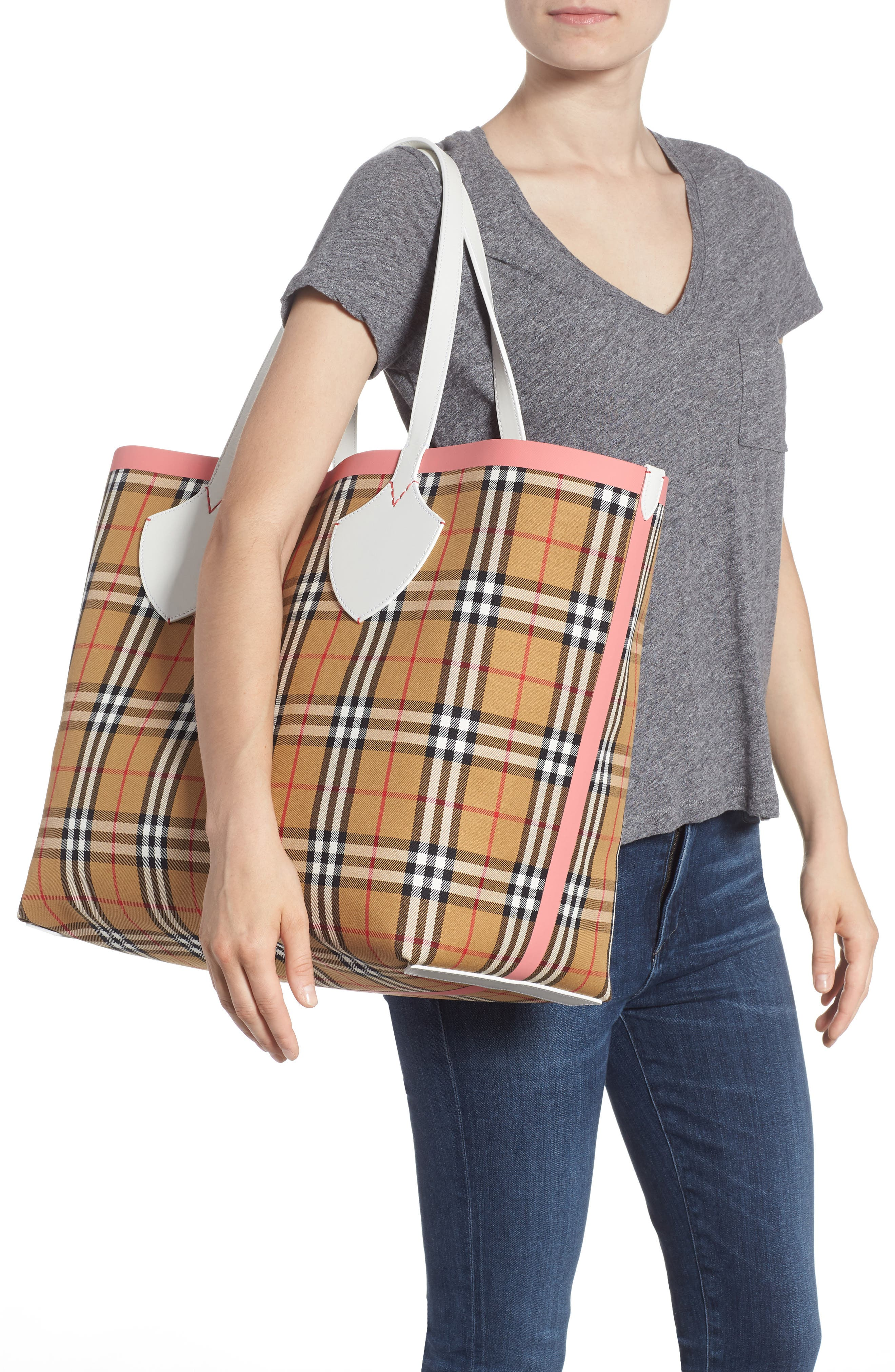 Giant Check Reversible Tote,                             Alternate thumbnail 2, color,                             BEIGE/ PINK/ CHALK WHITE