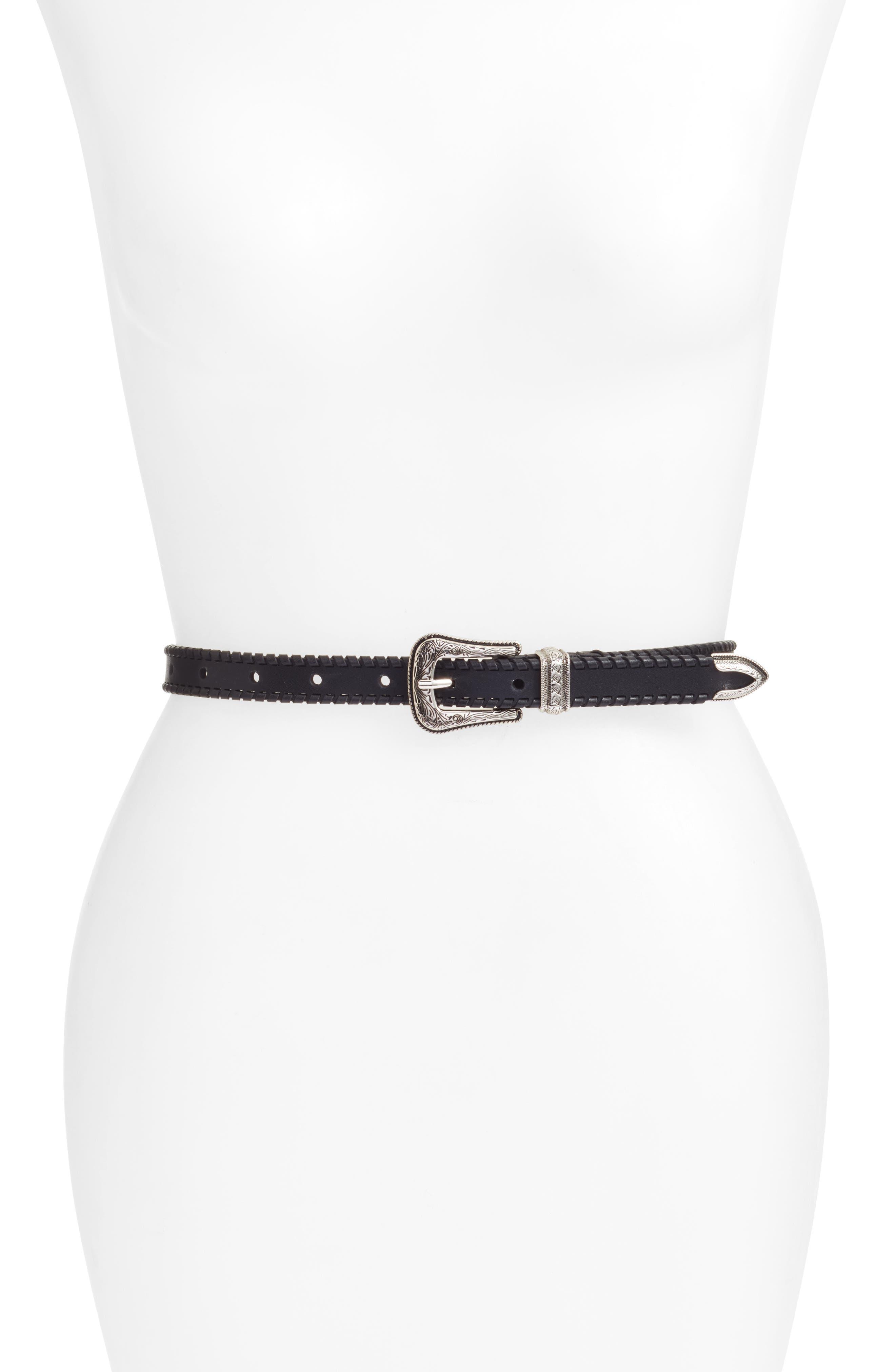 Rebecca Minkoff Whipstitch Leather Belt, Black