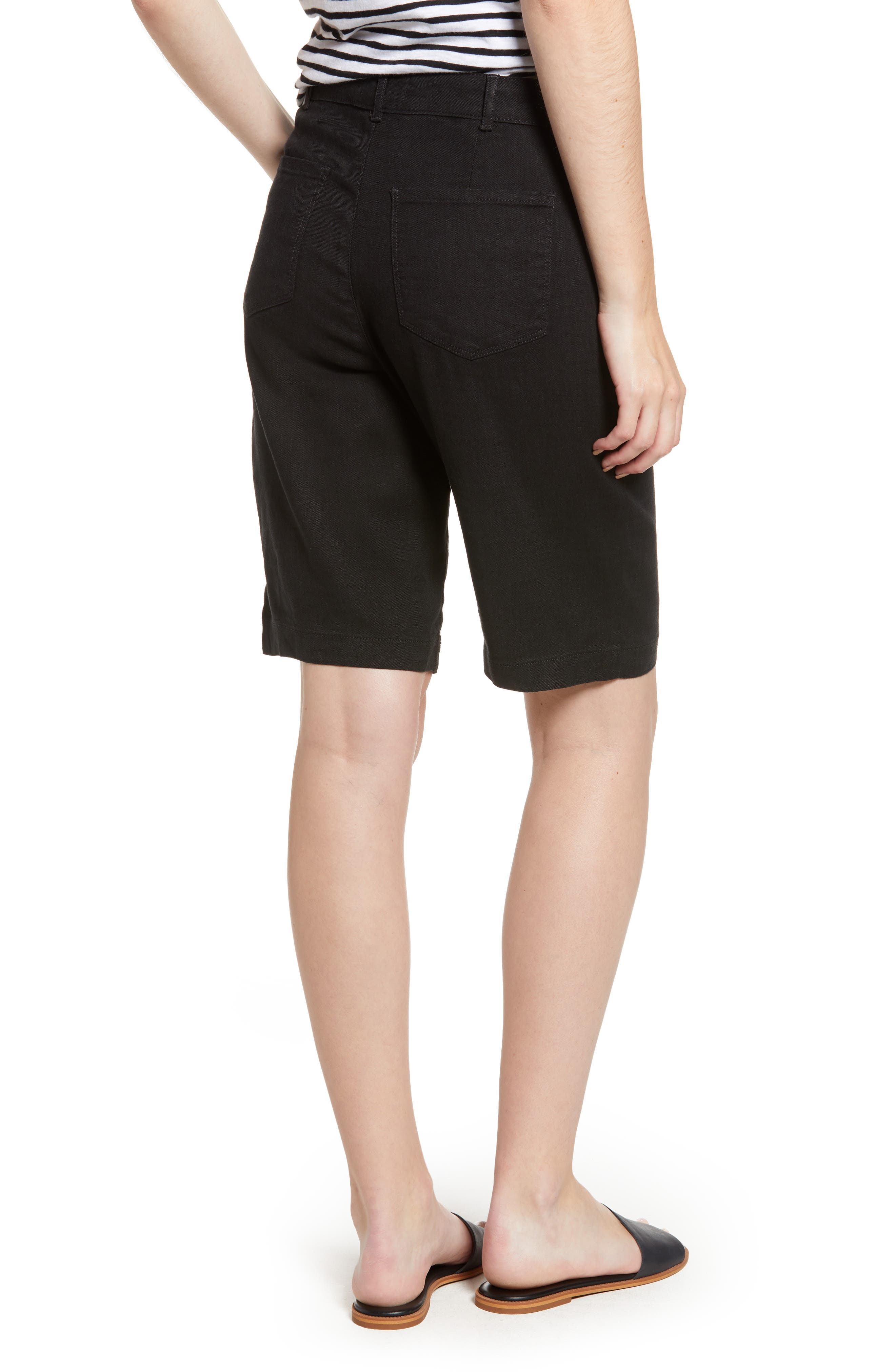Stretch Linen Blend Bermuda Shorts,                             Alternate thumbnail 2, color,                             001