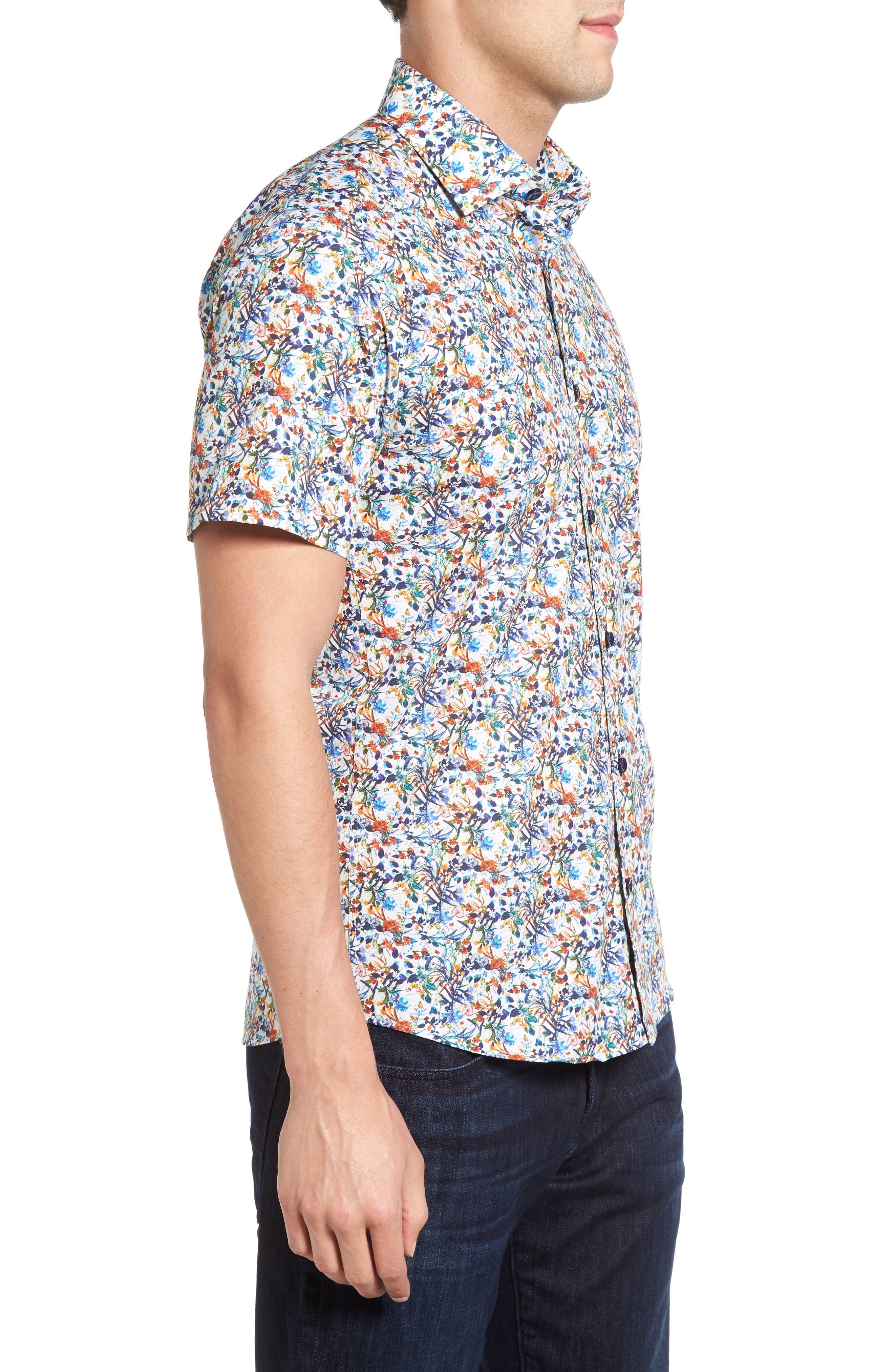Trim Fit Floral Sport Shirt,                             Alternate thumbnail 3, color,                             100