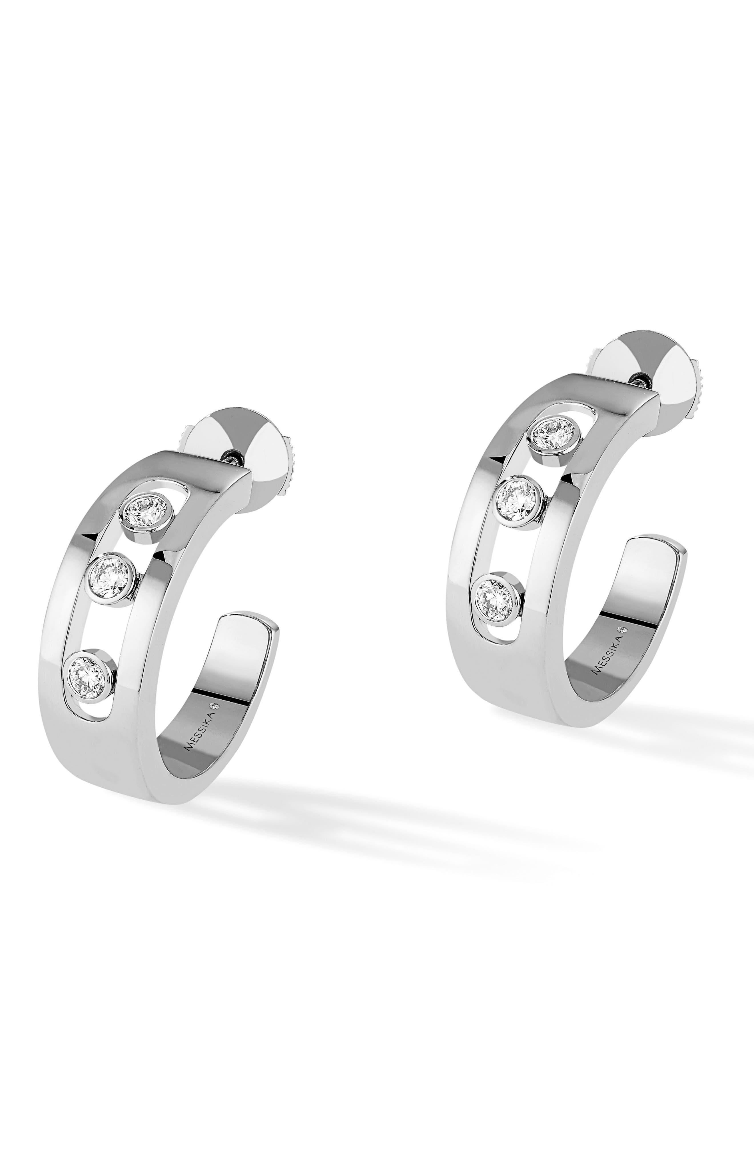 Move Diamond Hoop Earrings,                             Main thumbnail 1, color,                             WHITE GOLD