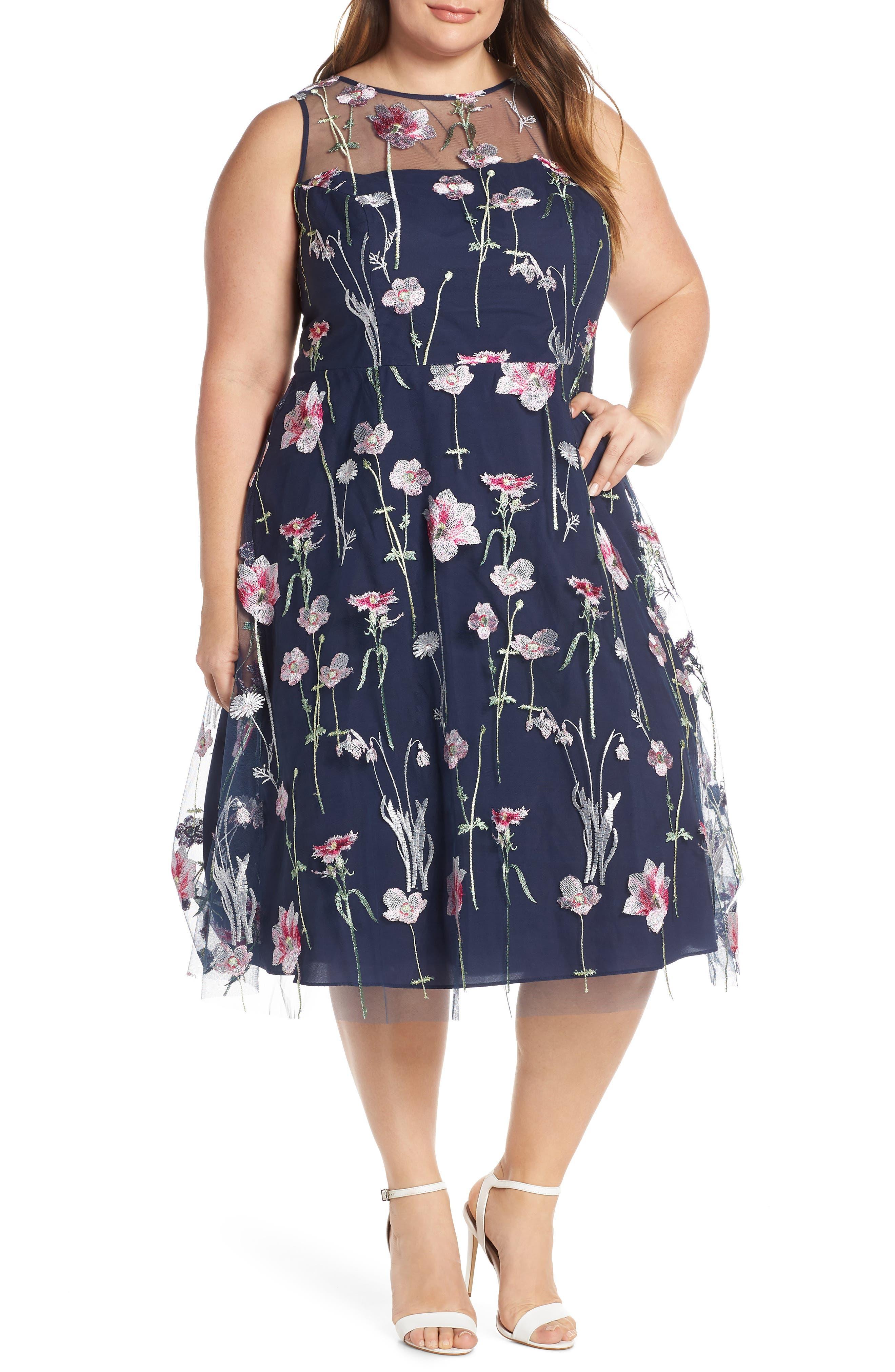 Plus Size Eliza J Embroidered Floral Sleeveless Dress, Blue