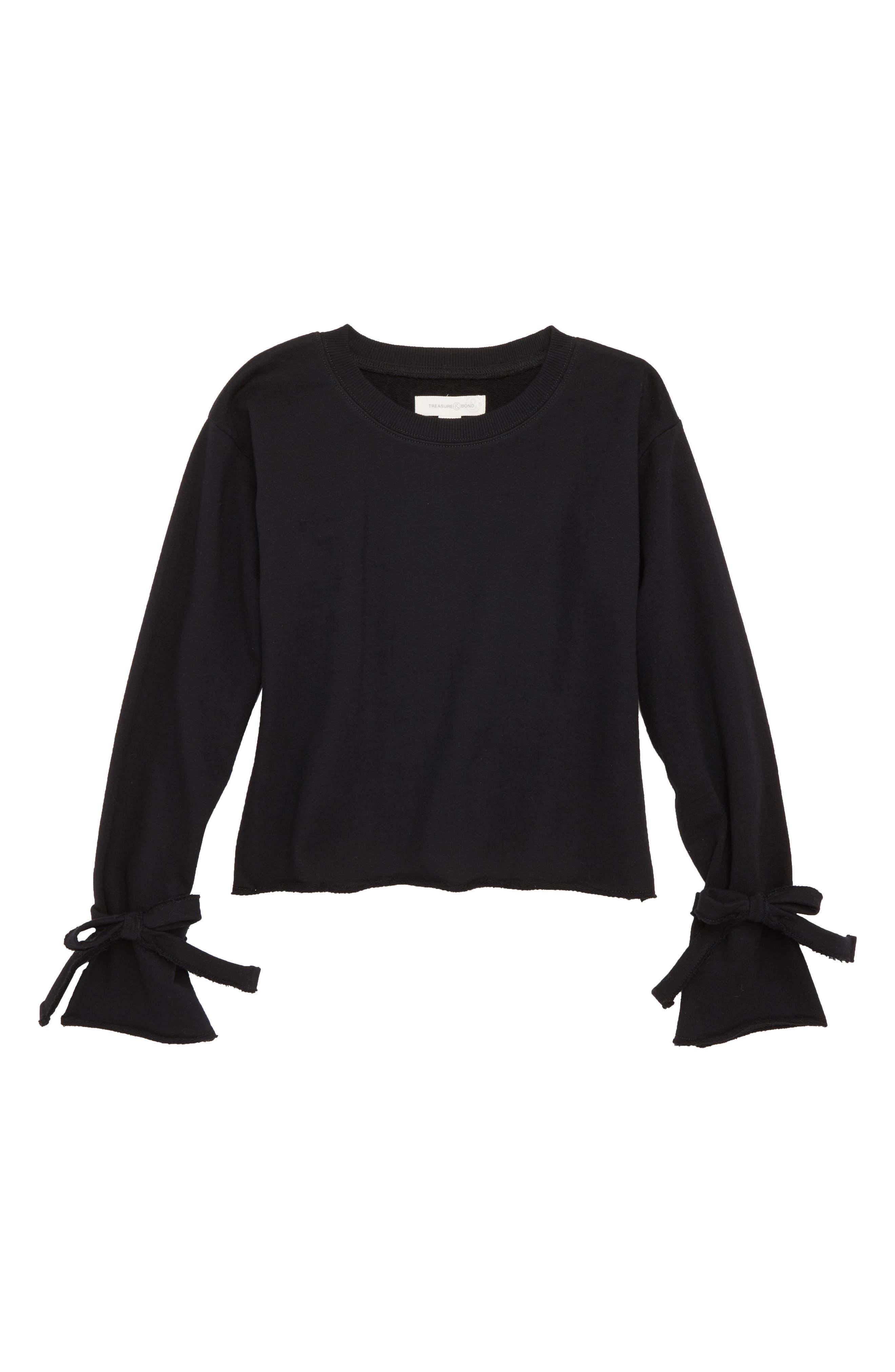 Tie Sleeve Sweatshirt,                         Main,                         color, BLACK