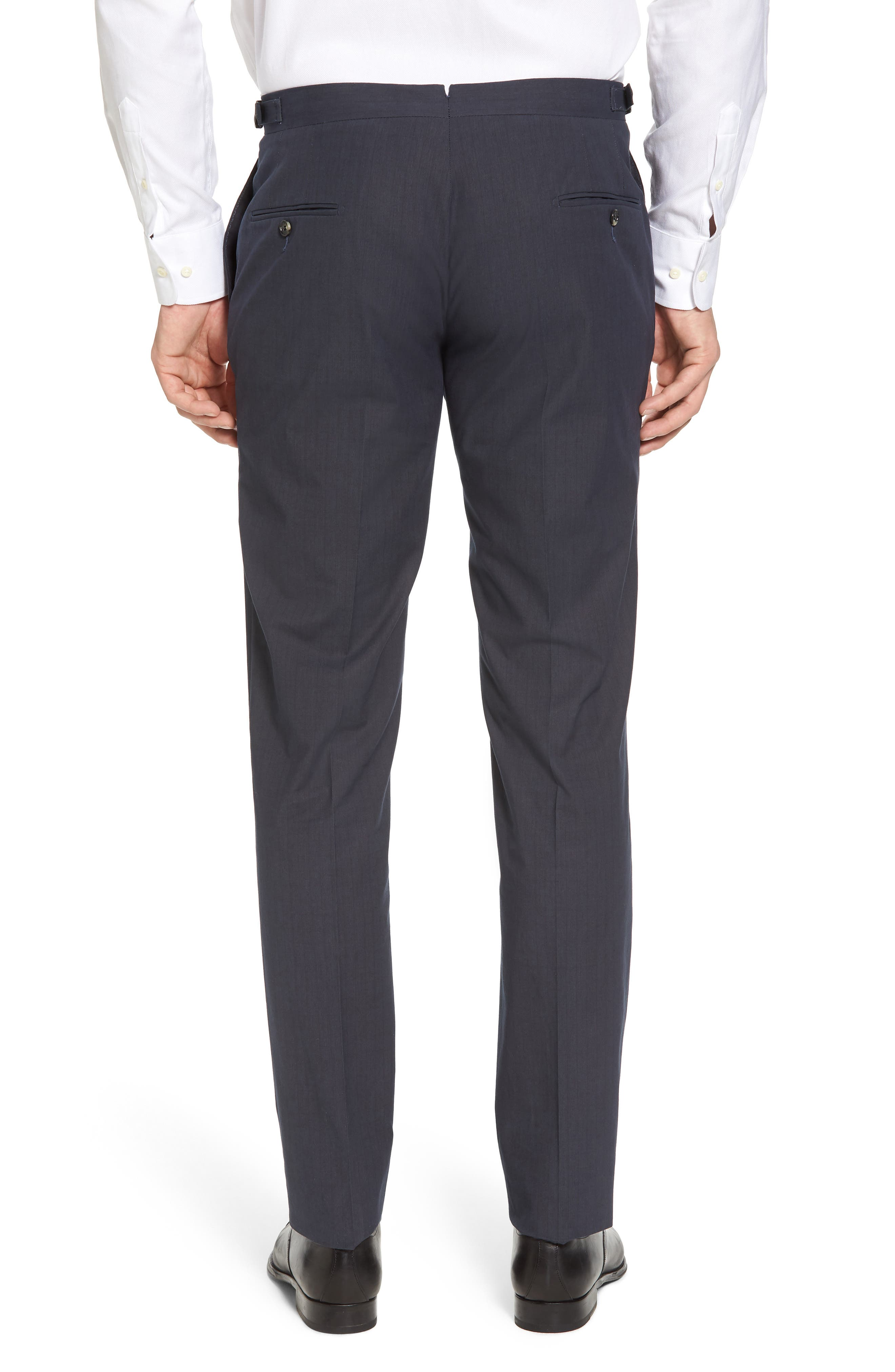 Flat Front Stripe Stretch Cotton Trousers,                             Alternate thumbnail 2, color,                             422