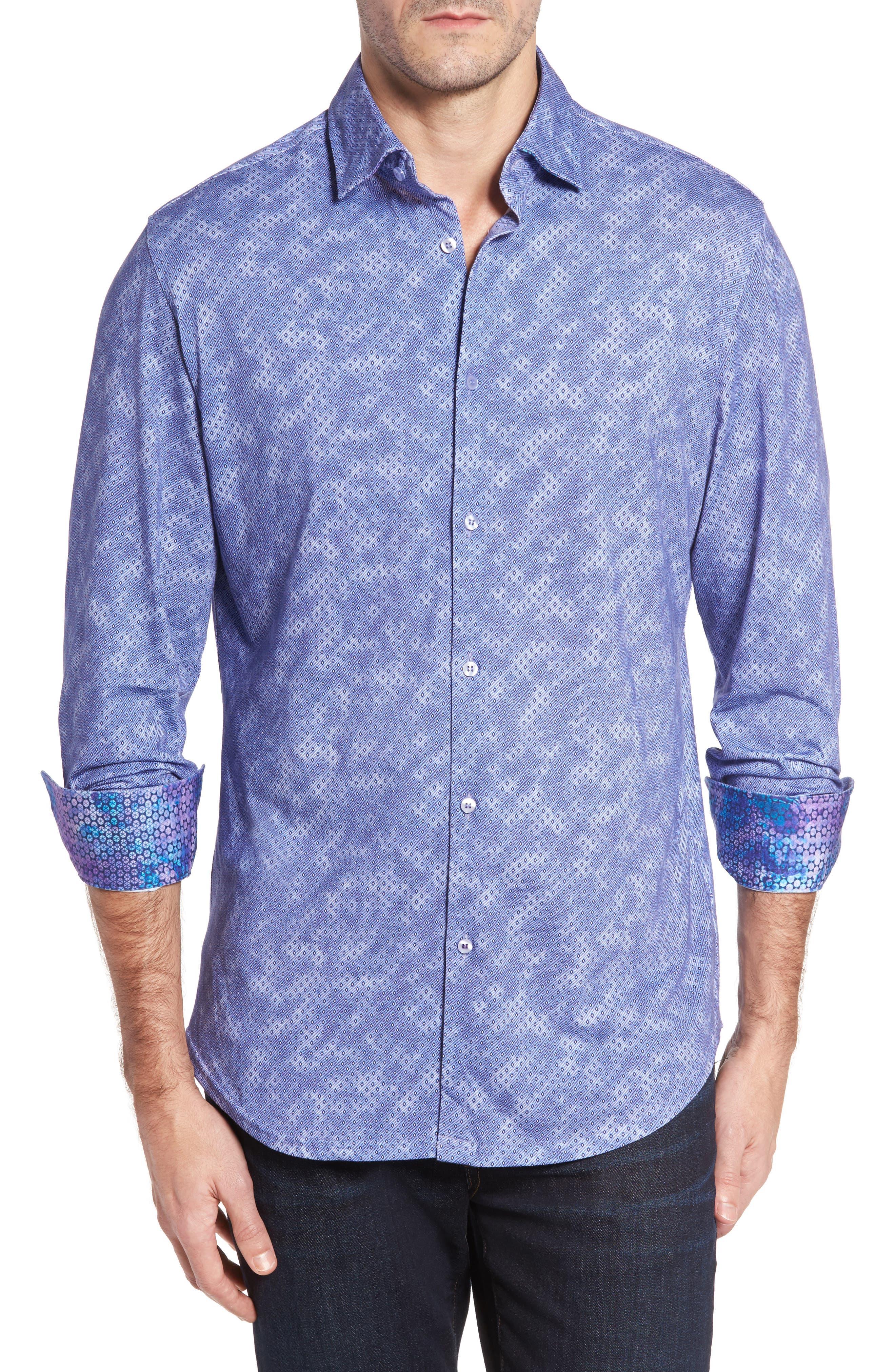 Slim Fit Wavy Diamond Print Sport Shirt,                         Main,                         color, 400