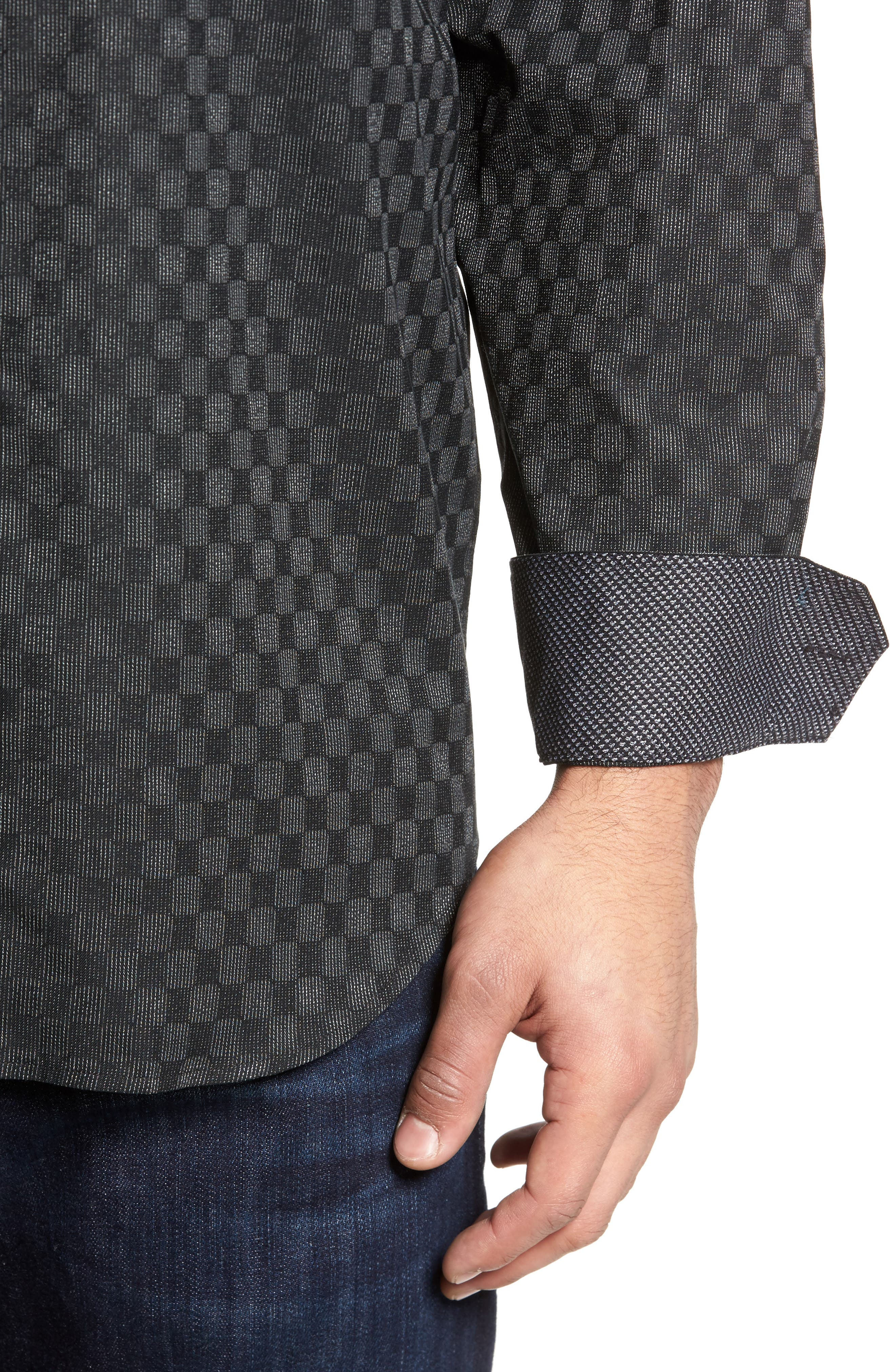 Classic Fit Abstract Dot Print Sport Shirt,                             Alternate thumbnail 4, color,                             001