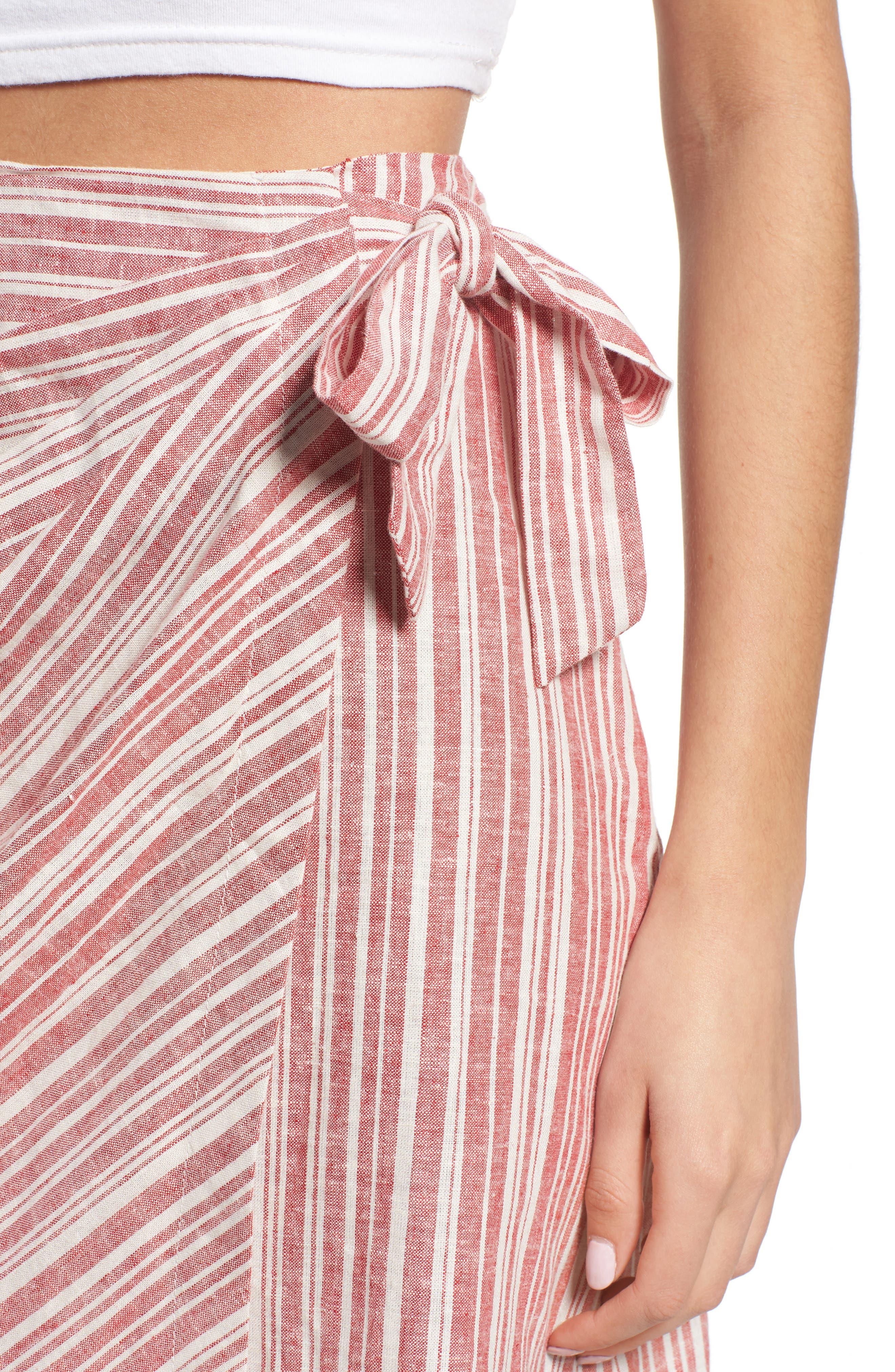 Stripe Linen Blend Wrap Skirt,                             Alternate thumbnail 4, color,                             610