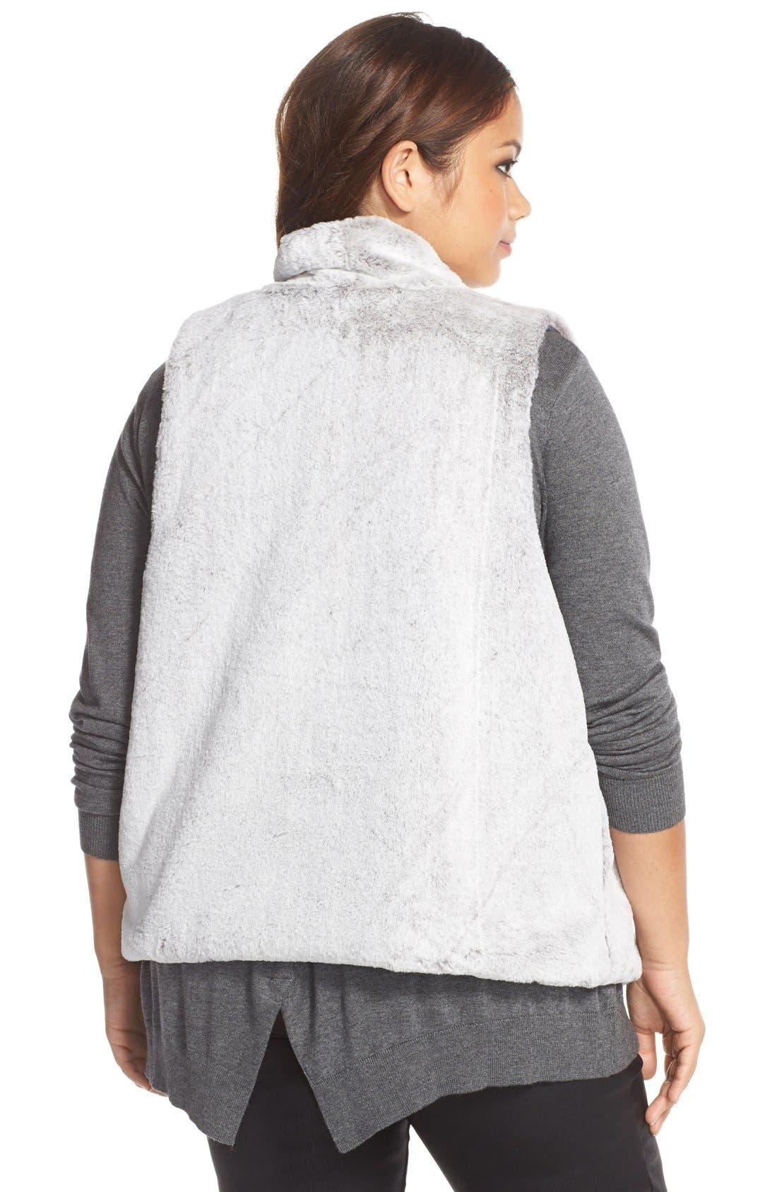 'Kya' Faux Fur Vest,                             Alternate thumbnail 3, color,                             NATURAL GREY