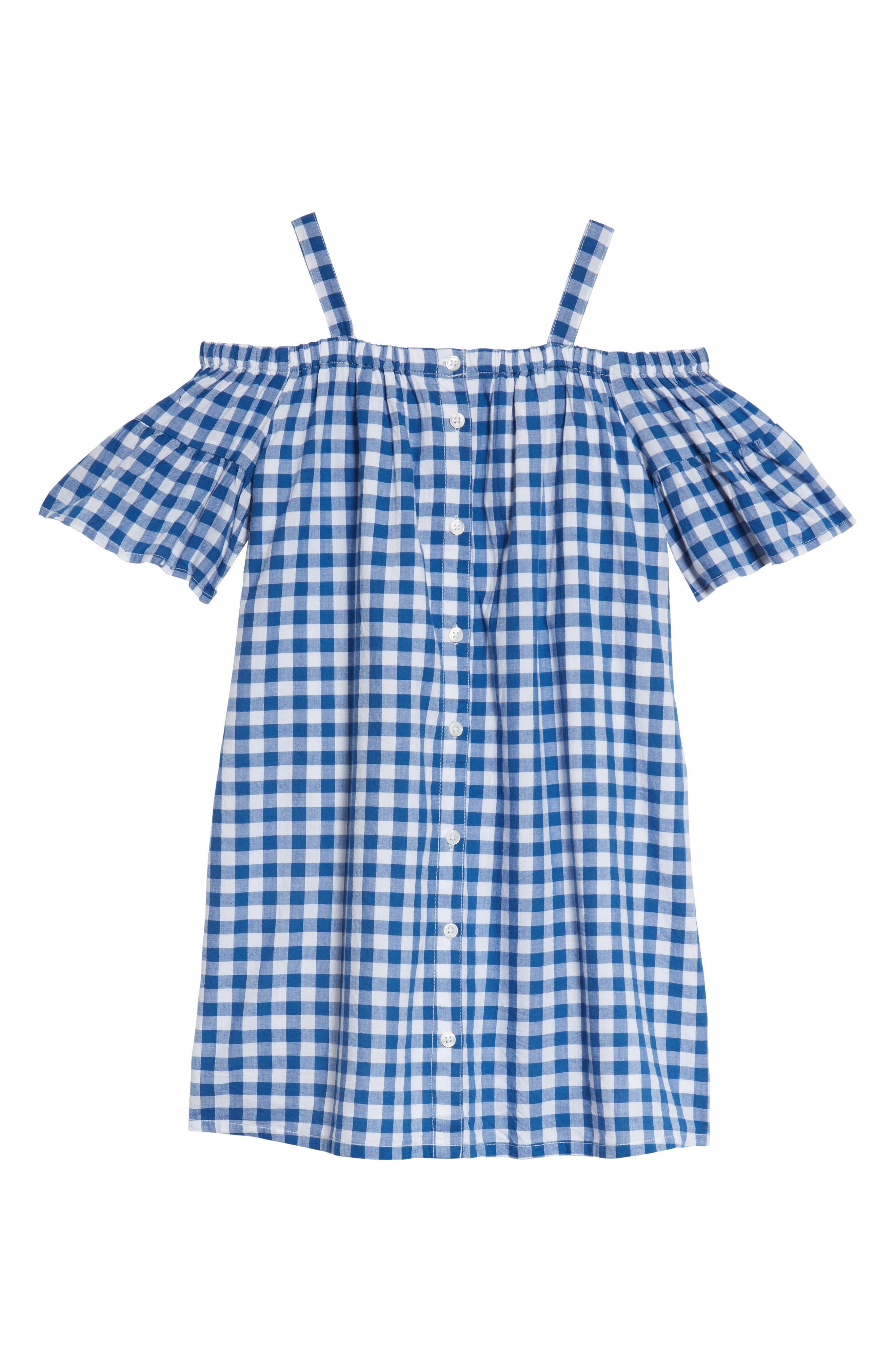 Cold Shoulder Gingham Shift Dress,                         Main,                         color,