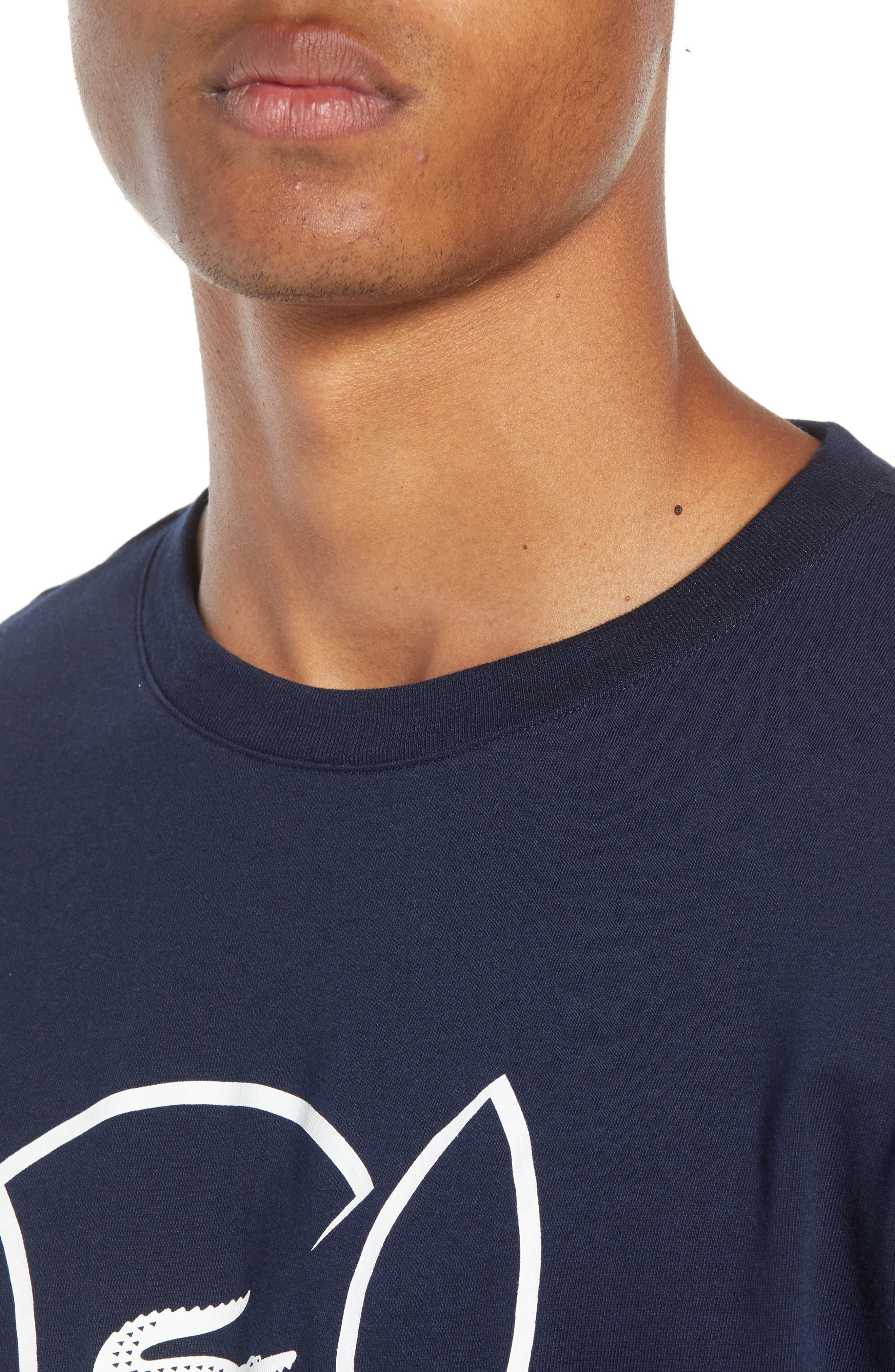 Tech Jersey Regular Fit Tee,                             Alternate thumbnail 4, color,                             NAVY BLUE/ WHITE
