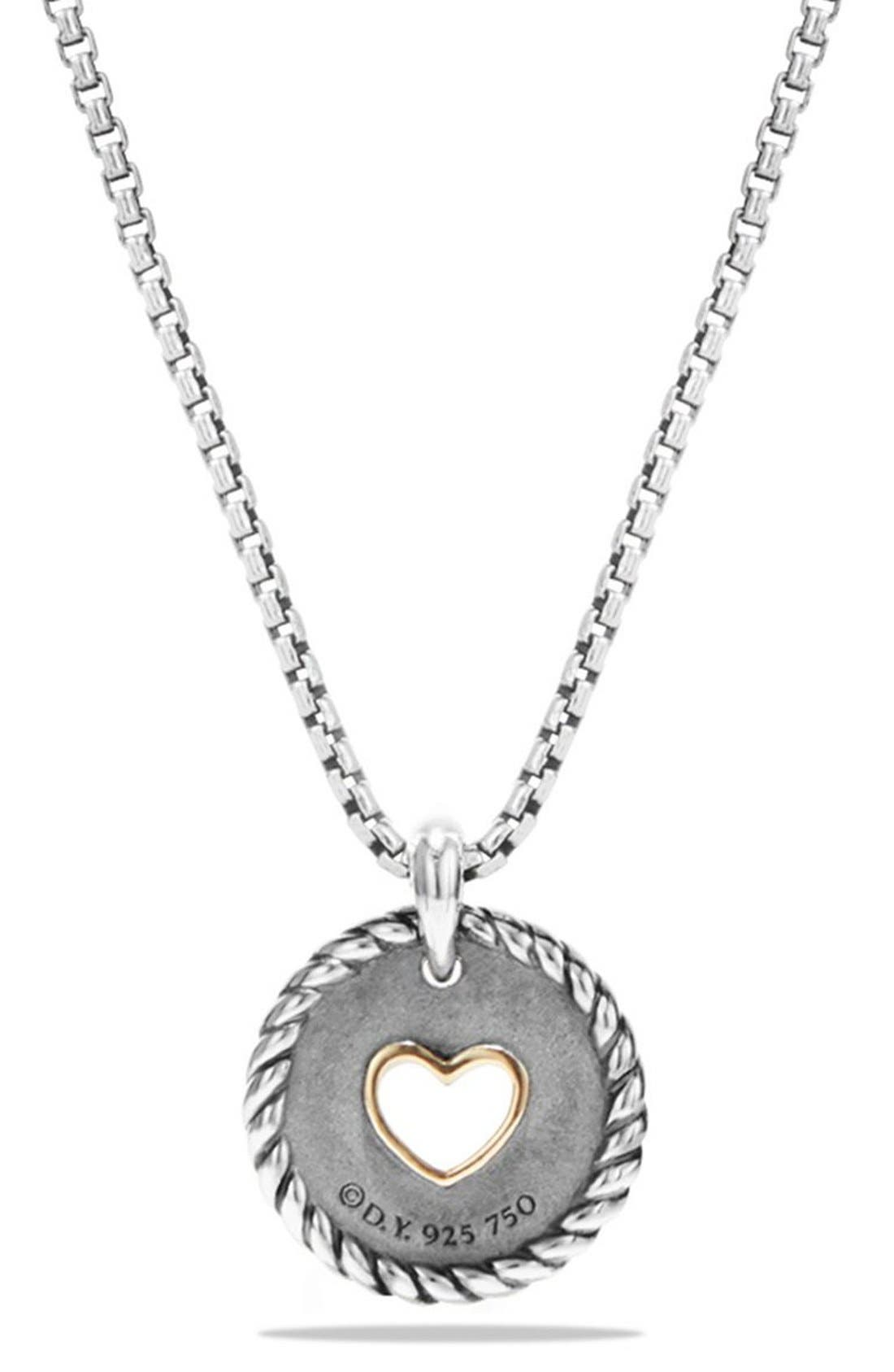 'Cable Collectibles' Heart Charm with Diamonds,                             Alternate thumbnail 4, color,                             SILVER/ GOLD