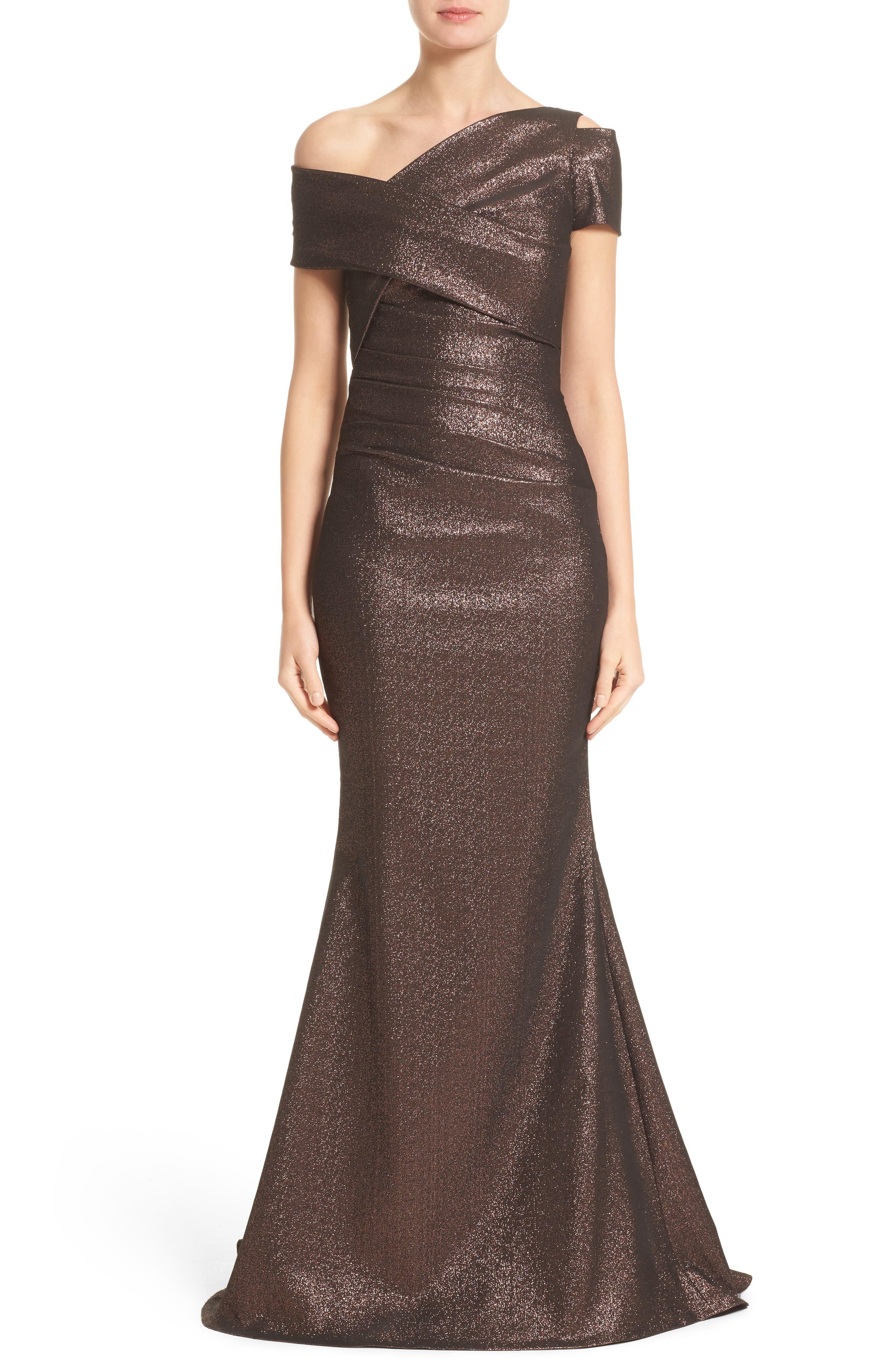 Glitter Knit Asymmetrical Mermaid Gown,                             Main thumbnail 1, color,                             COPPER