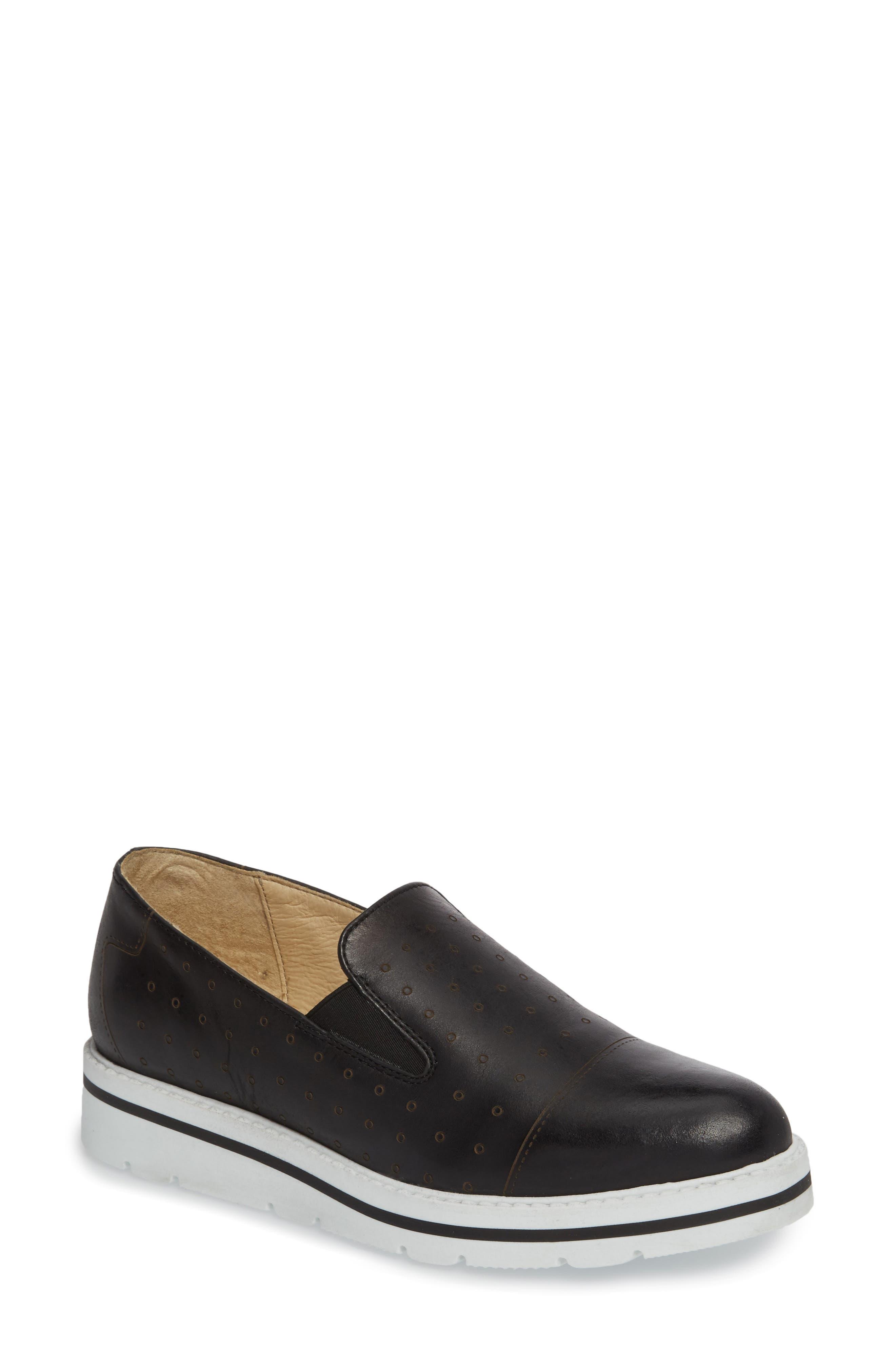 Leigh Slip-On Sneaker,                             Main thumbnail 1, color,                             BLACK GLAMOUR LEATHER