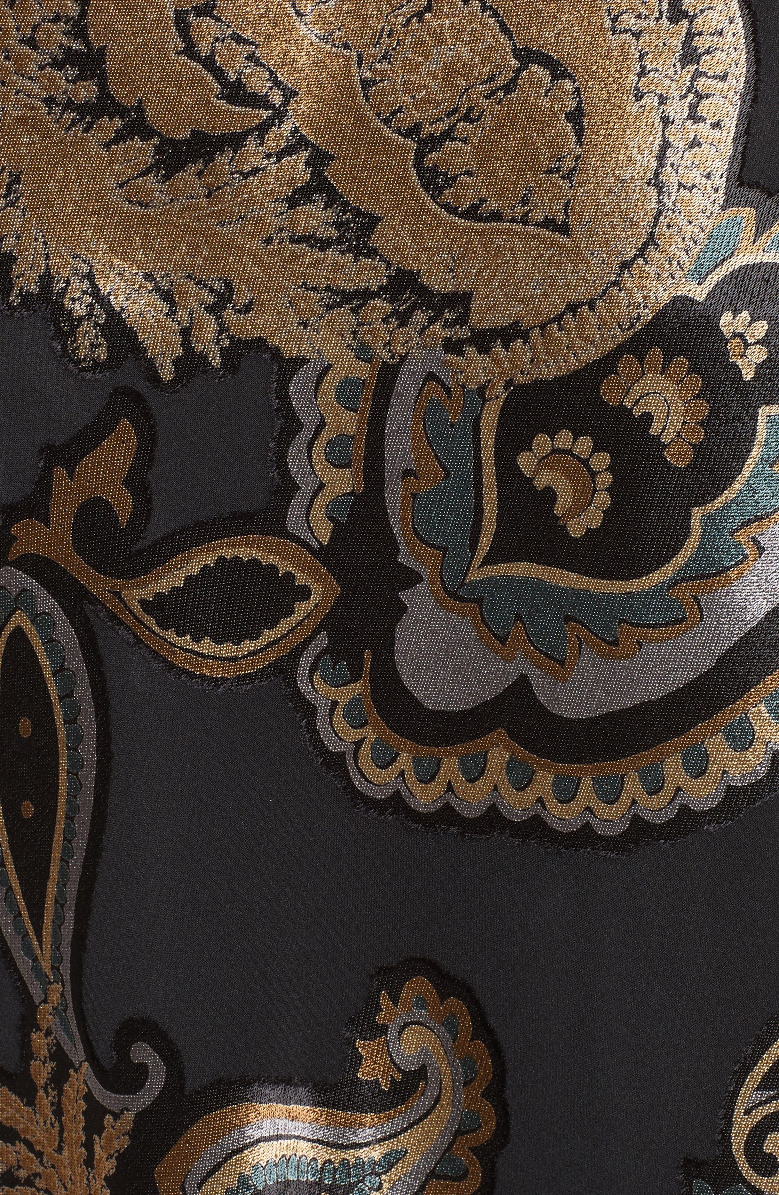 Kamara Renaissance Paisley Devoré Skirt,                             Alternate thumbnail 5, color,                             001