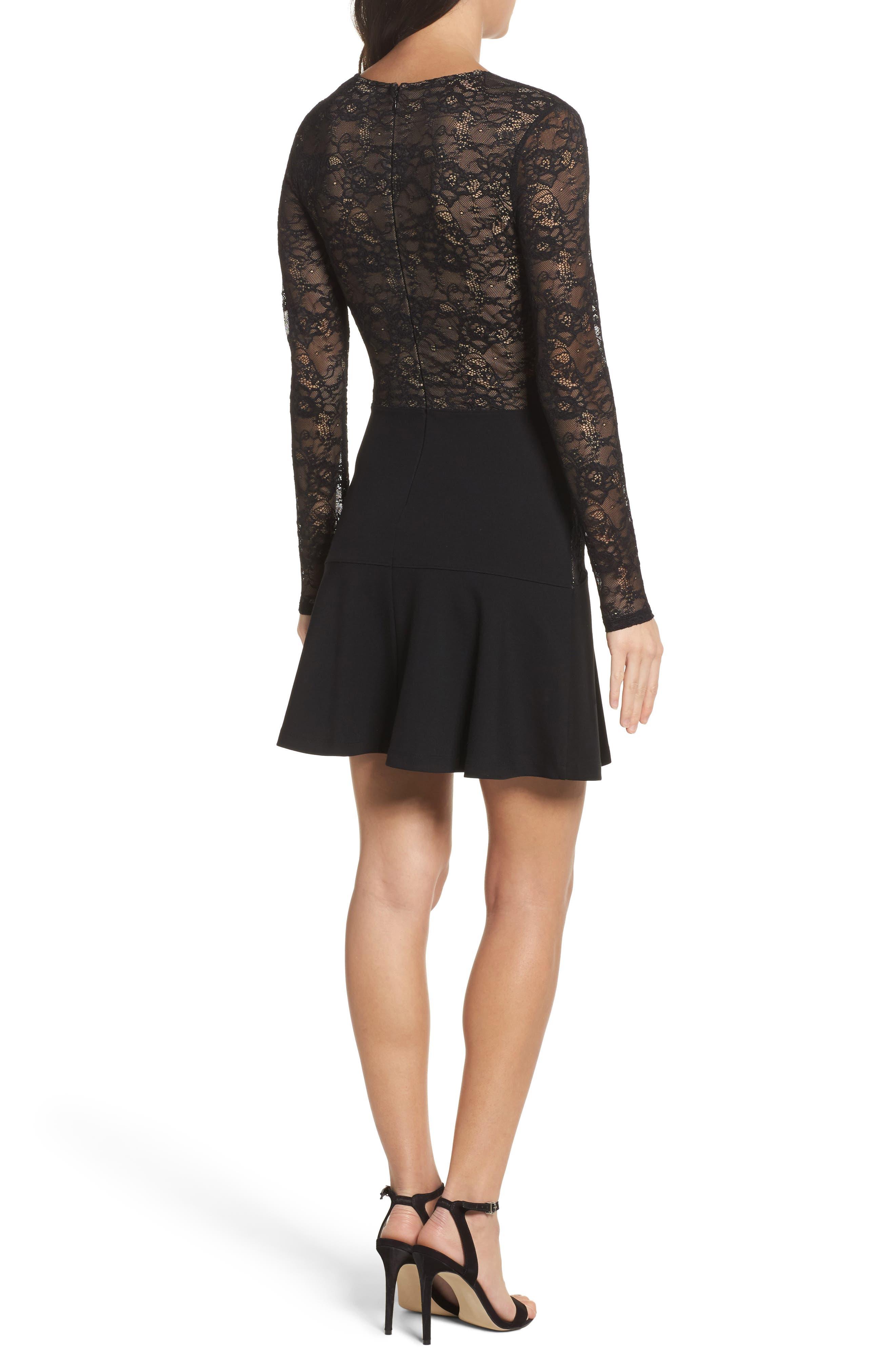 L'Arc Ponte Knit Fit & Flare Dress,                             Alternate thumbnail 2, color,                             001