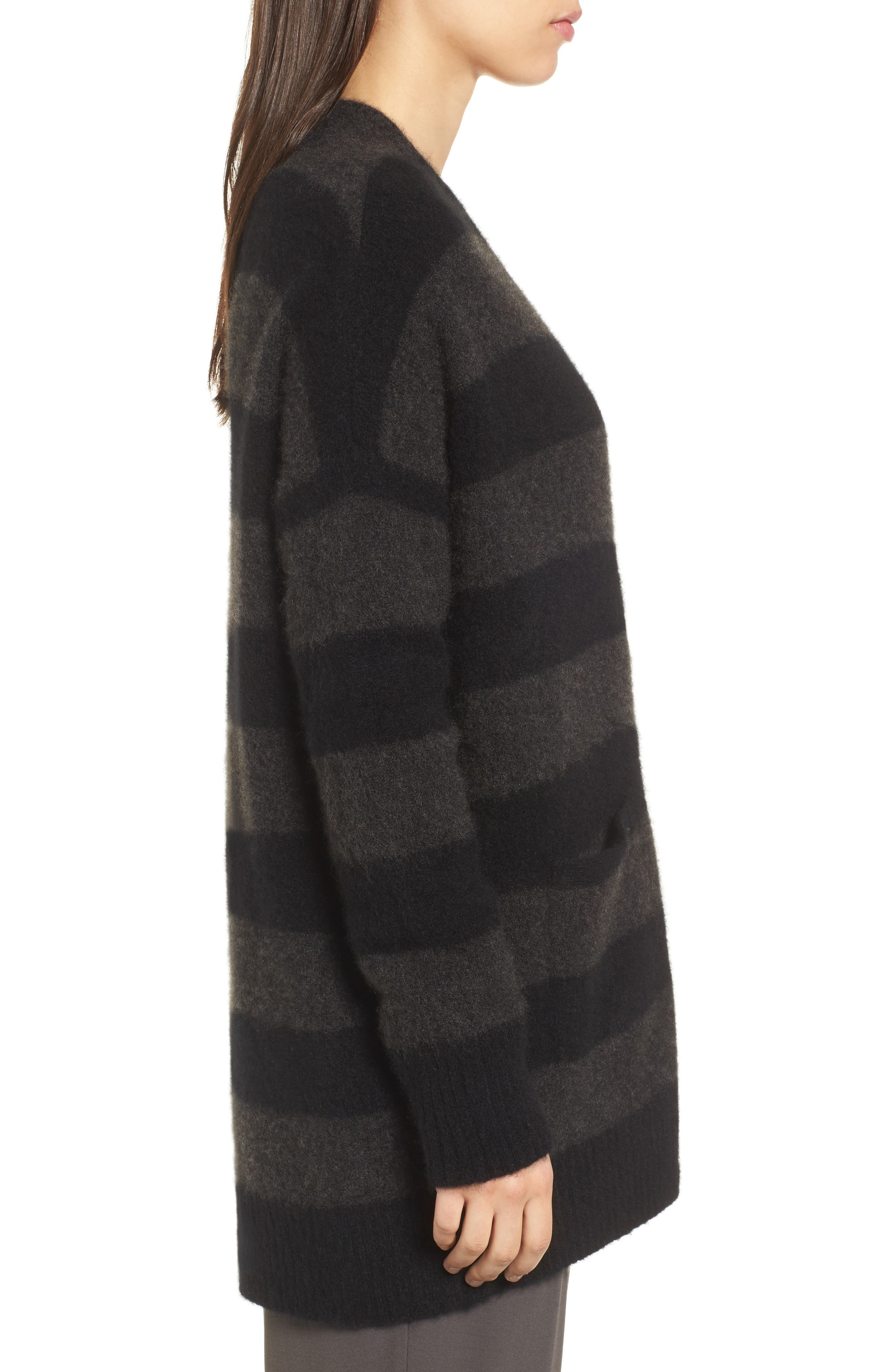 Stripe Cashmere Blend Cardigan,                             Alternate thumbnail 3, color,                             020