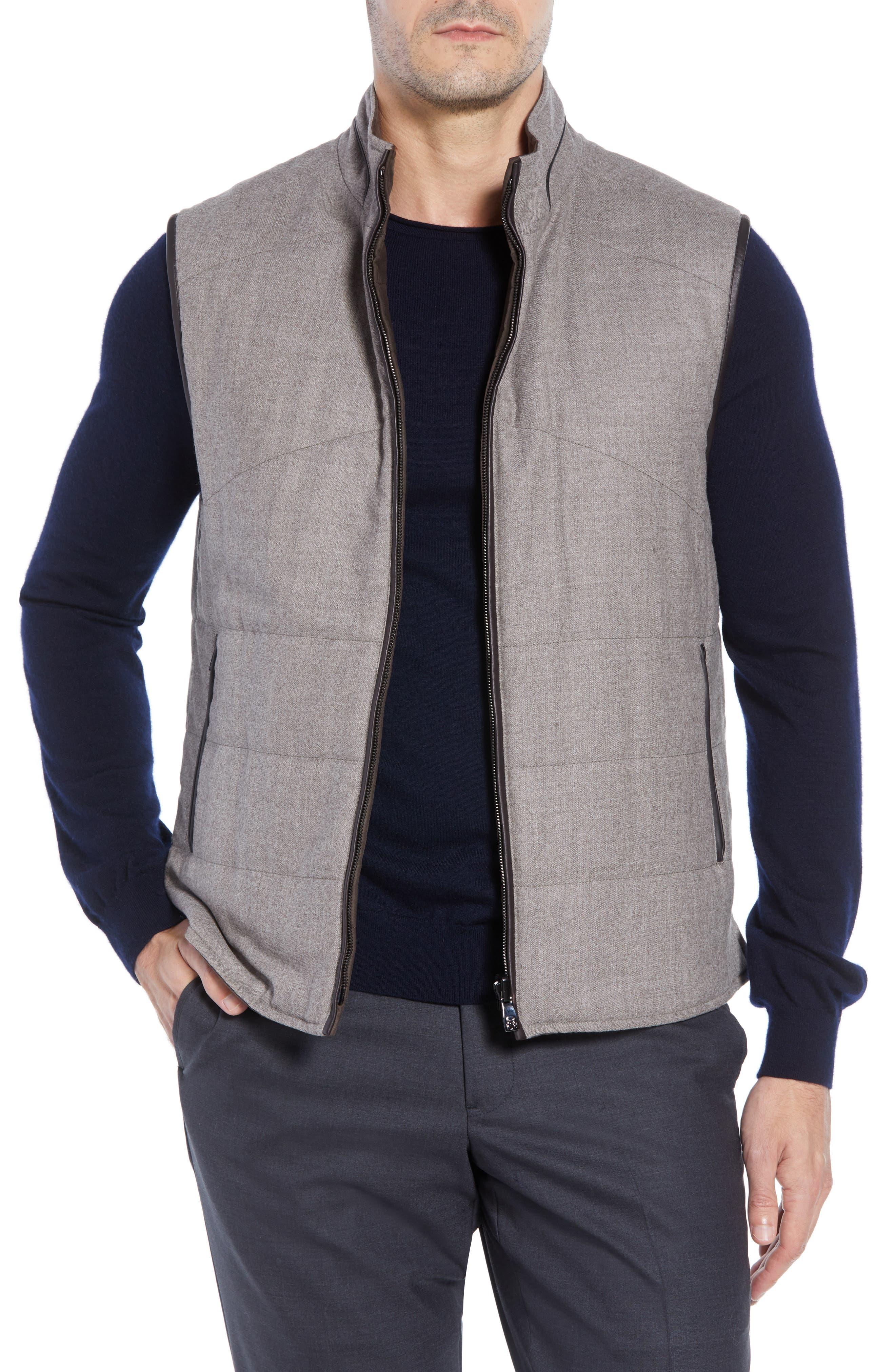 Classic Fit Reversible Vest,                             Main thumbnail 1, color,                             SAND