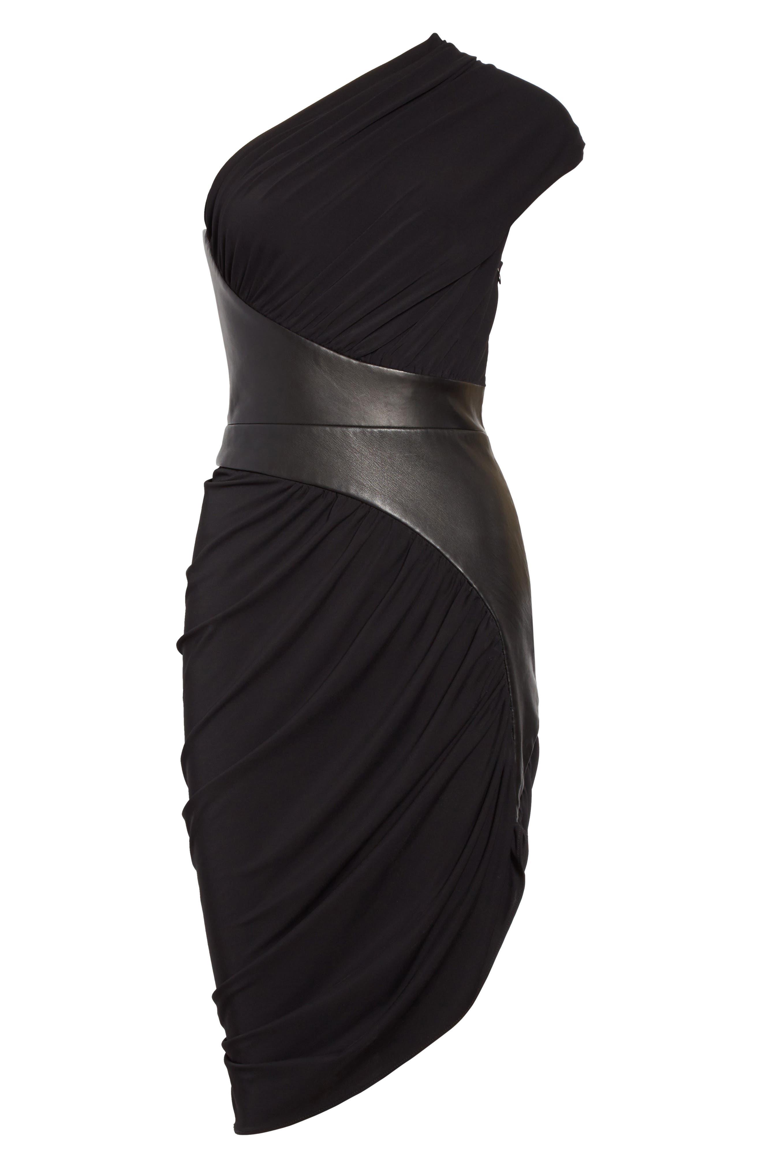 Leather Detail Draped One-Shoulder Dress,                             Alternate thumbnail 6, color,                             001