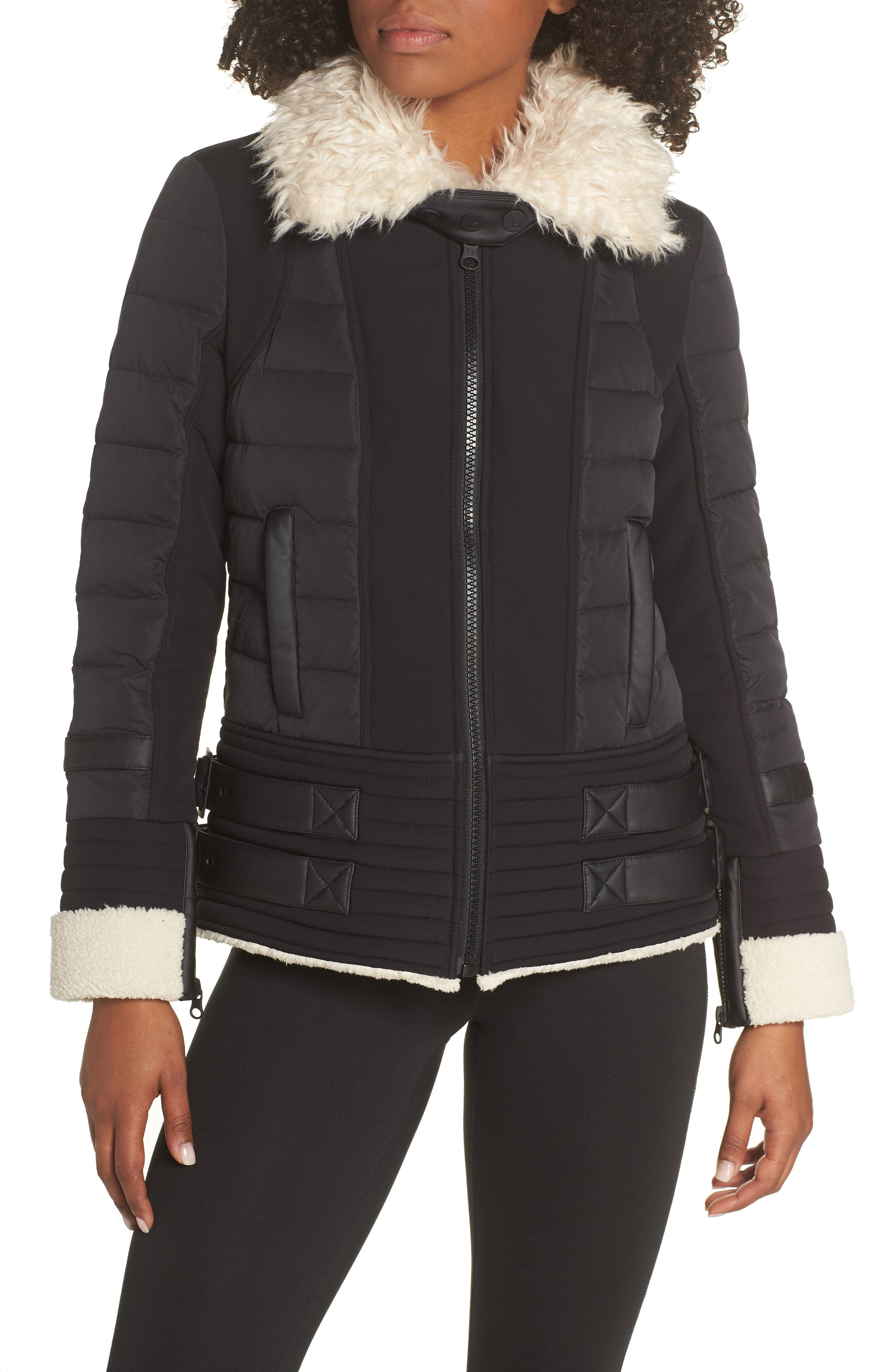 BLANC NOIR,                             Moto Aviator Puffer Jacket,                             Main thumbnail 1, color,                             BLACK