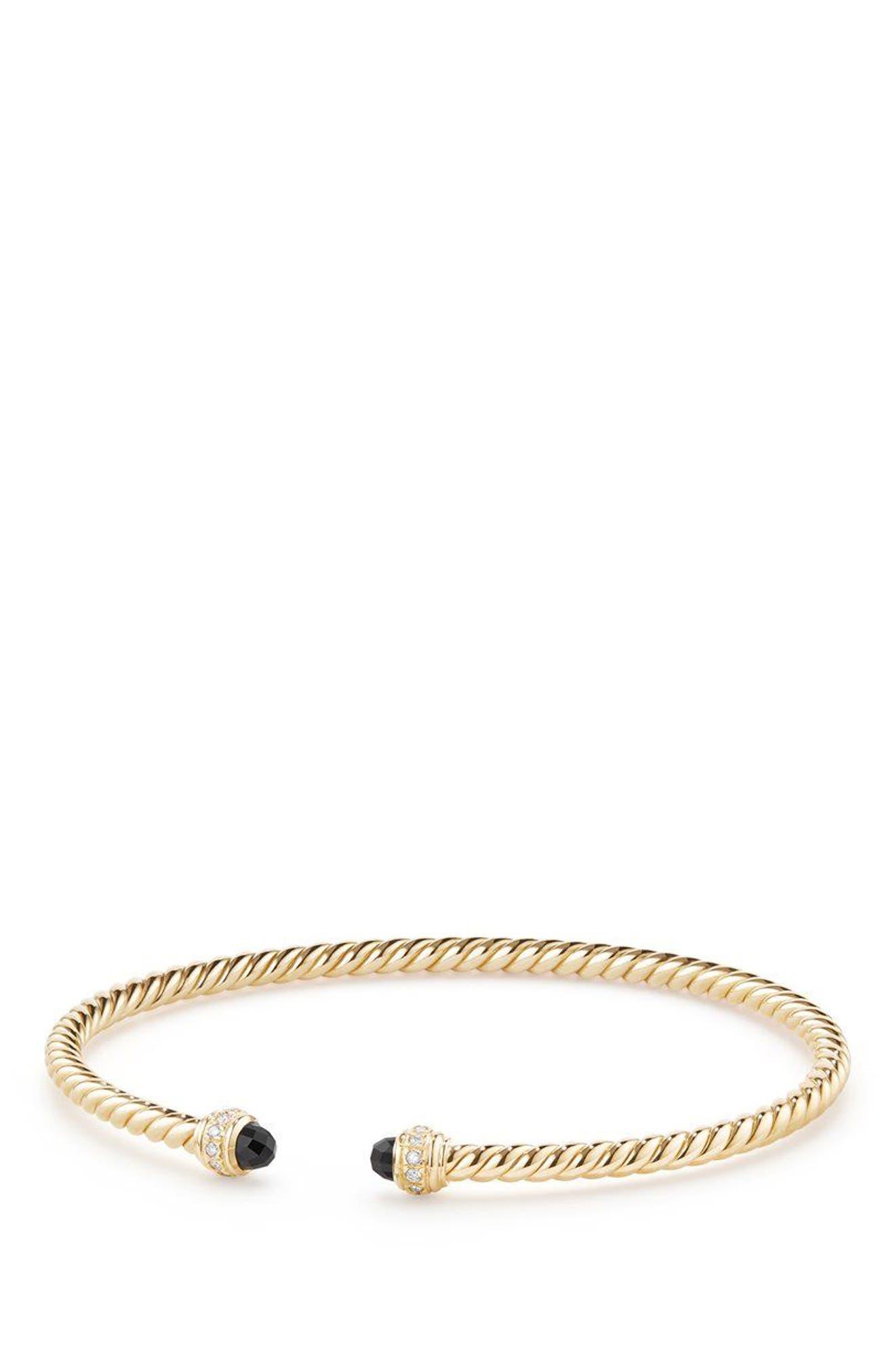 Cable Spira Bracelet in 18K Gold with Diamonds, 3mm,                         Main,                         color, GOLD/ DIAMOND/ BLACK ONYX
