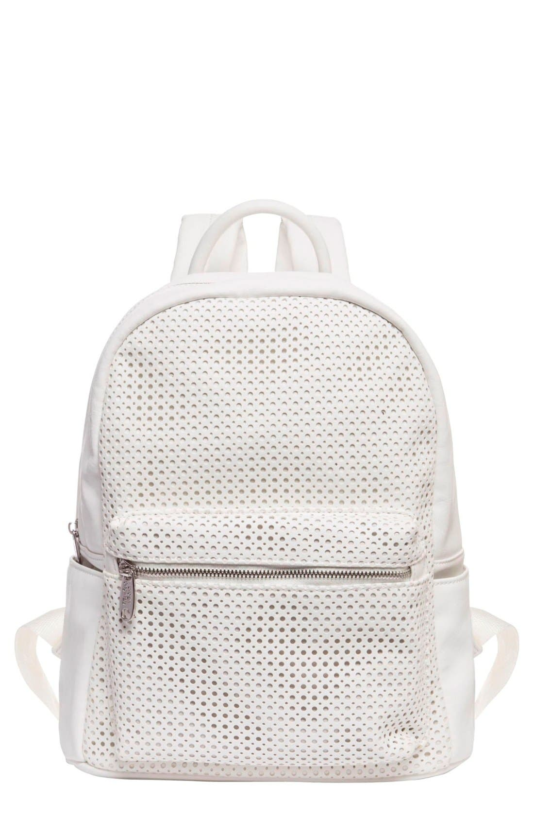 Lola Perforated Vegan Leather Backpack,                             Main thumbnail 1, color,                             100