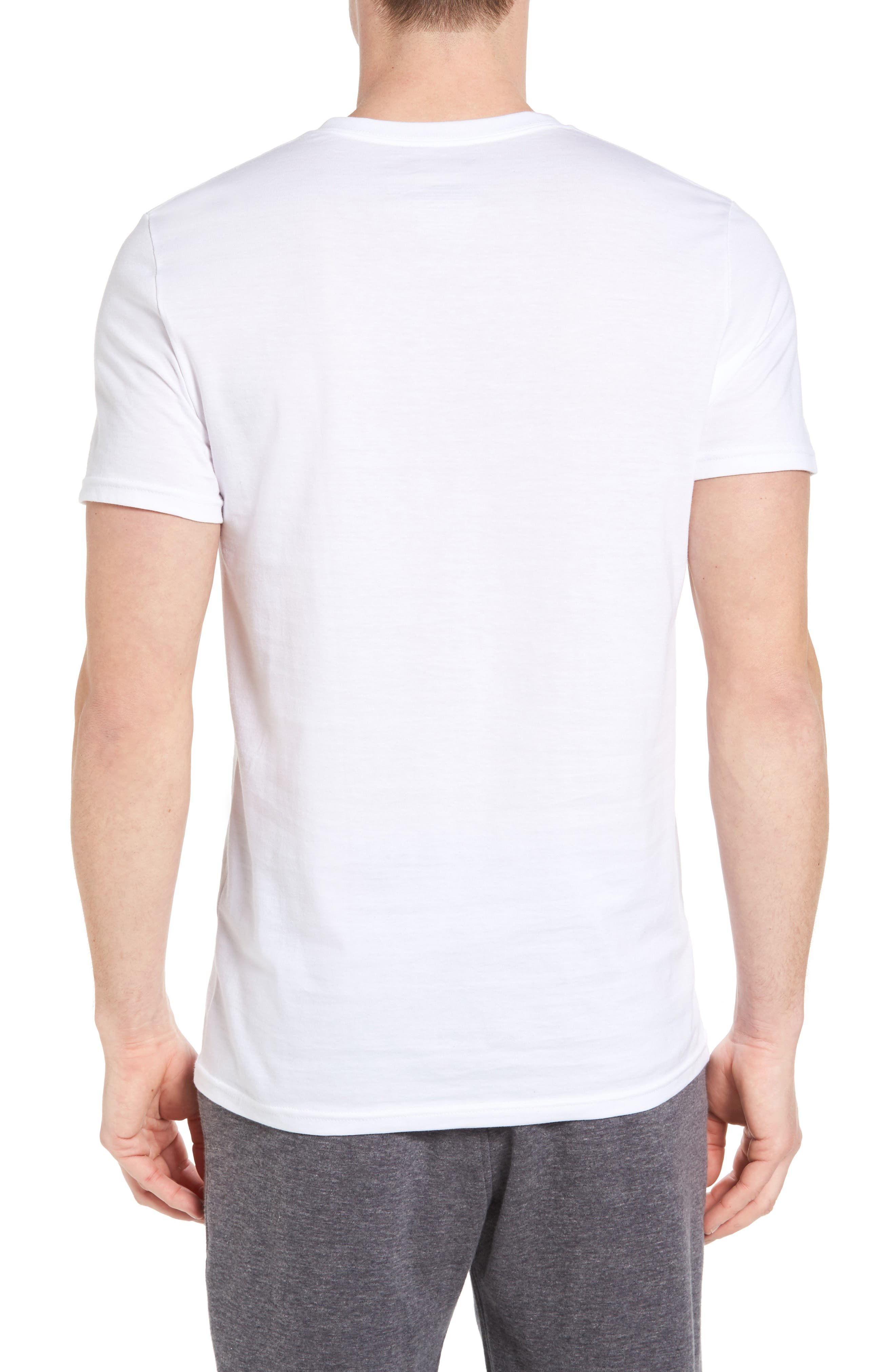 4-Pack Trim Fit Supima<sup>®</sup> Cotton V-Neck T-Shirts,                             Alternate thumbnail 3, color,                             WHITE