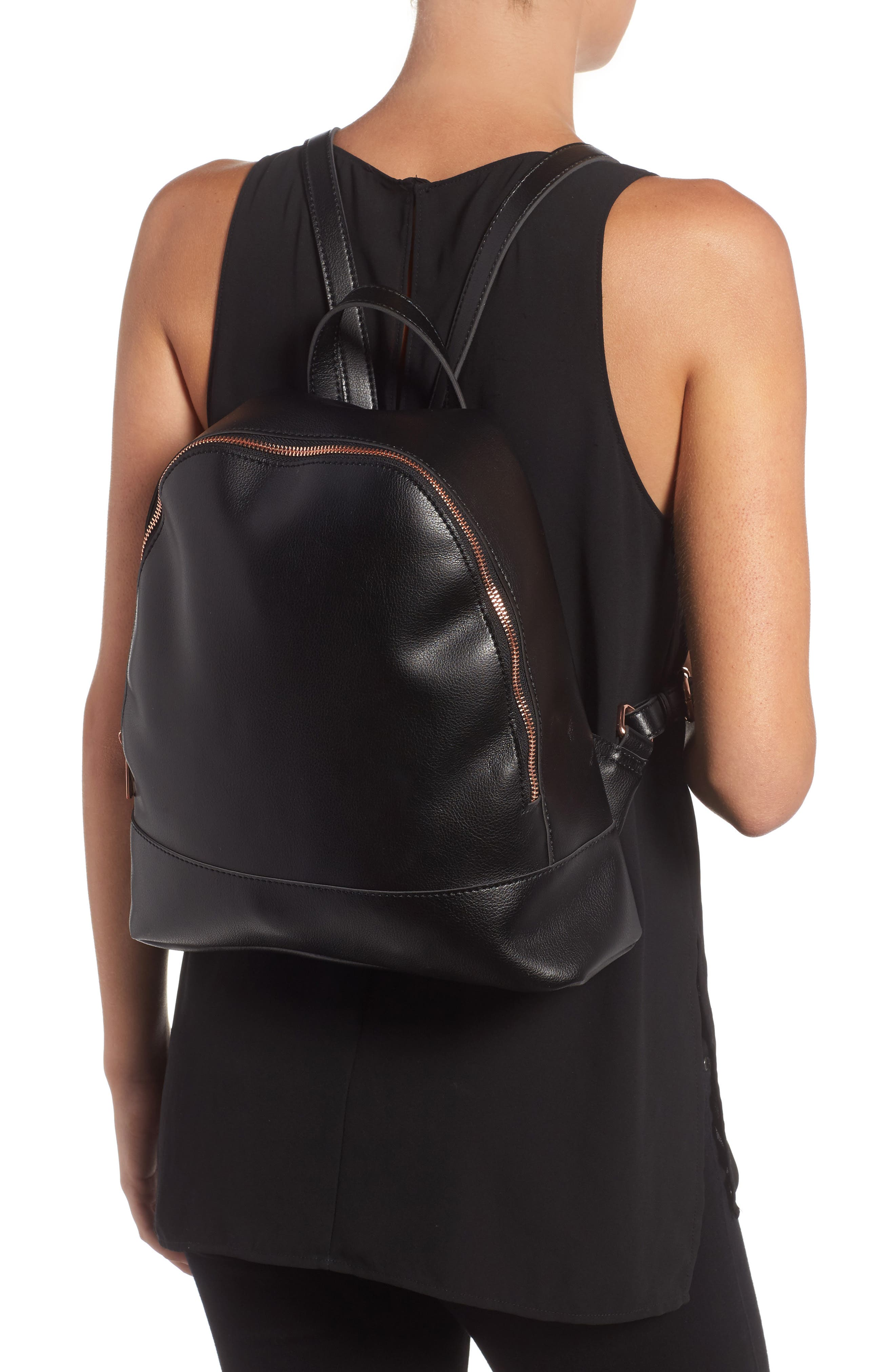 Chester Faux Leather Backpack,                             Alternate thumbnail 2, color,                             001