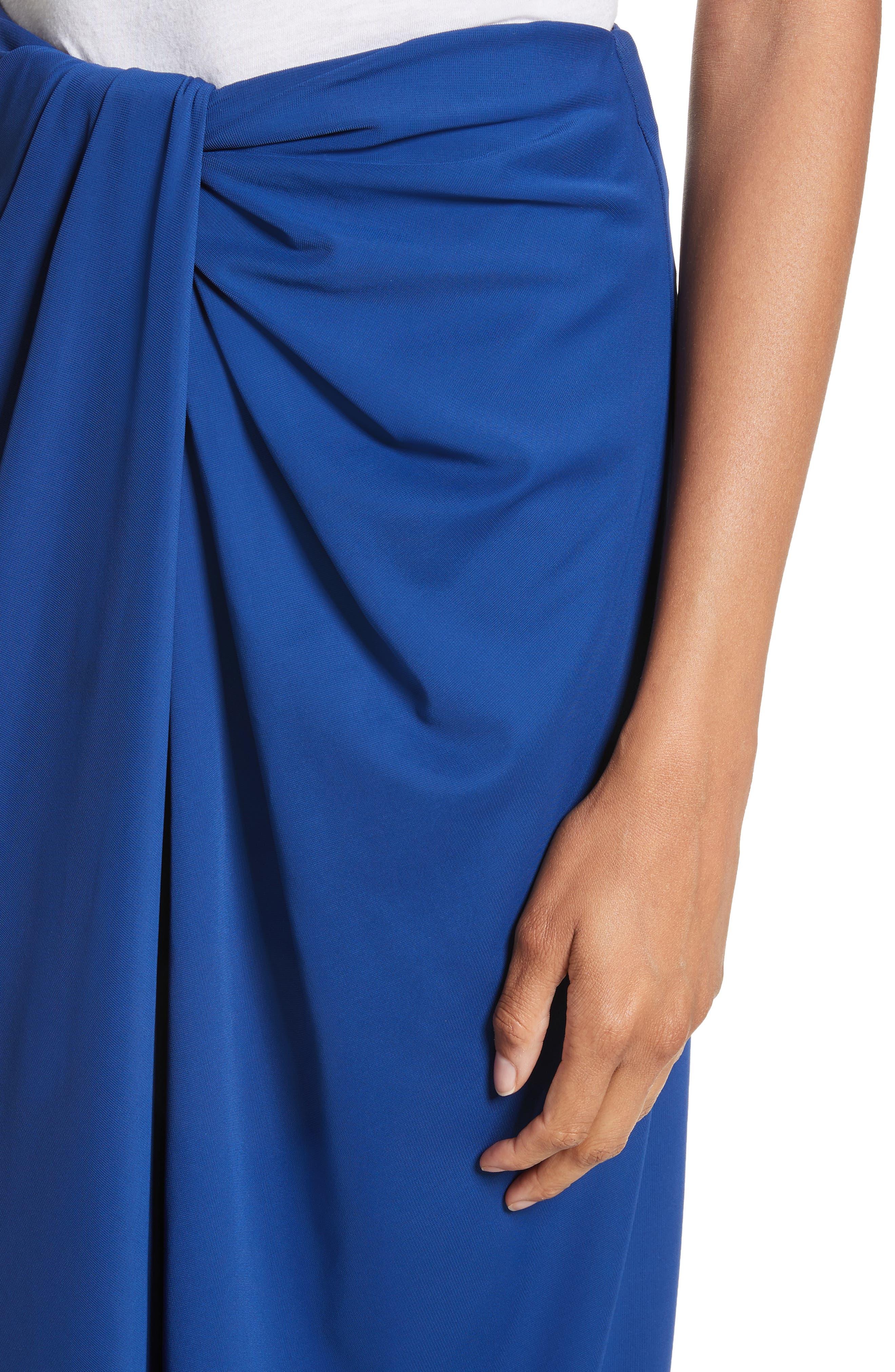 Jersey Twist Front Midi Skirt,                             Alternate thumbnail 4, color,