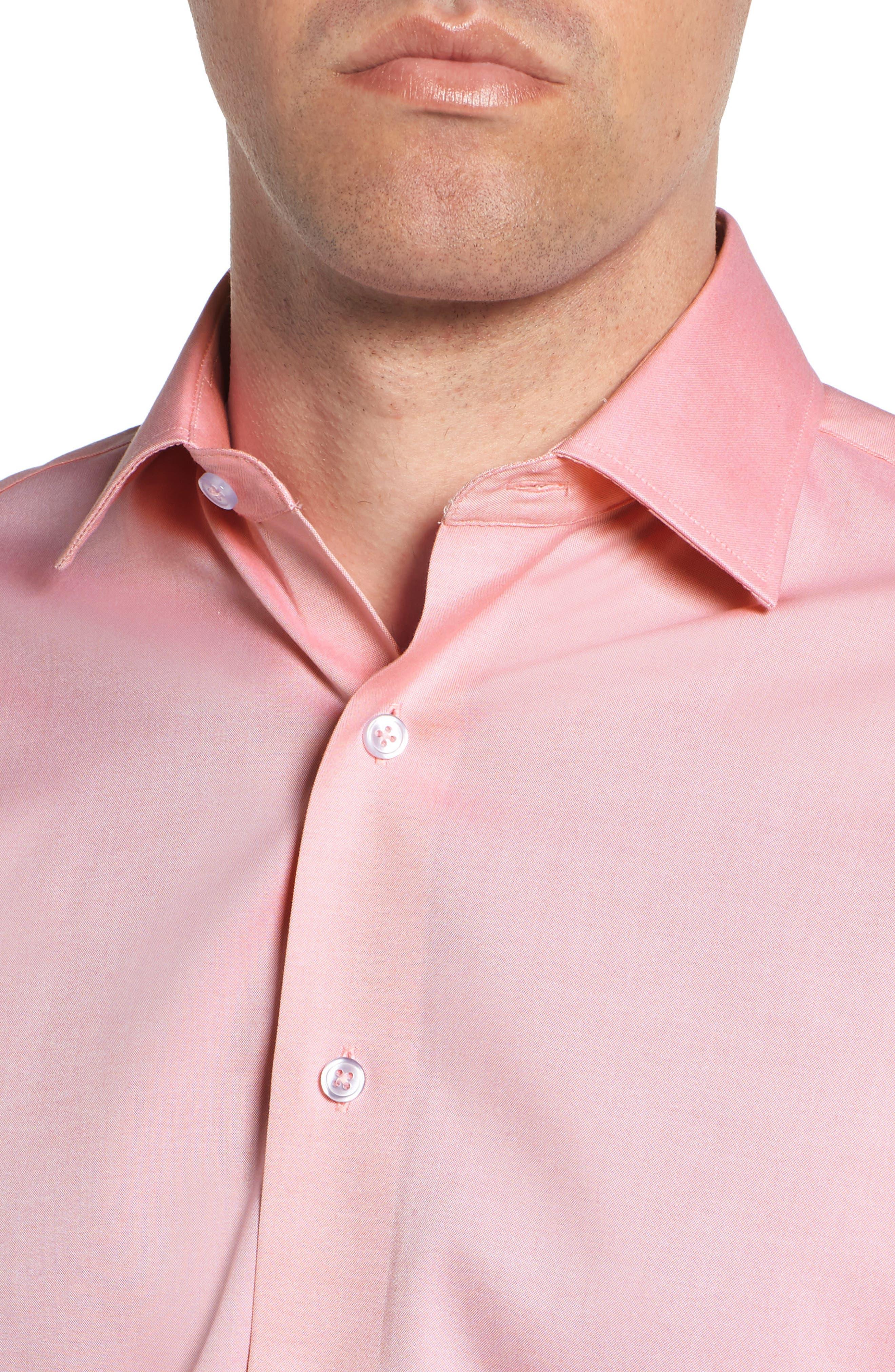 Trim Fit Solid Dress Shirt,                             Alternate thumbnail 2, color,                             PINK