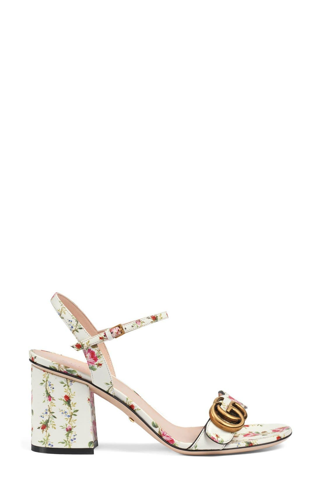 GG Marmont Block Heel Sandal,                             Alternate thumbnail 6, color,                             100
