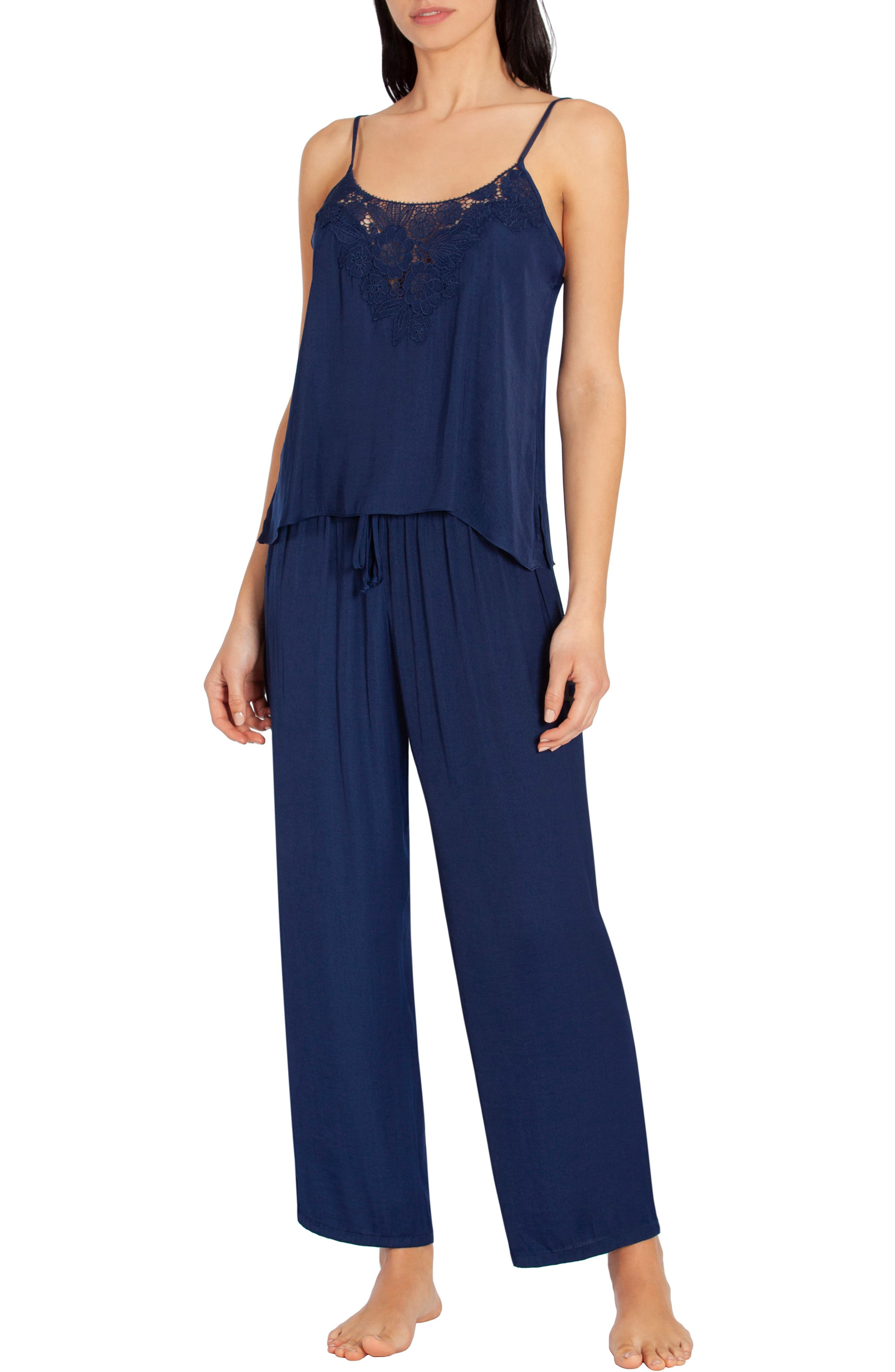 In Bloom By Jonquil Washed Satin Pajamas, Blue