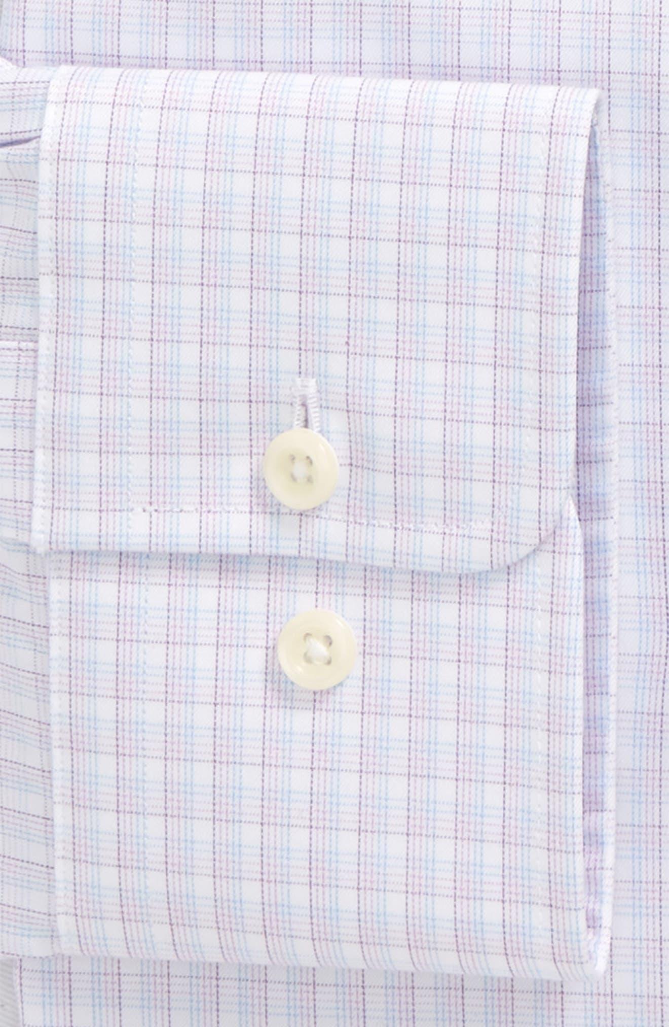 Trim Fit Check Dress Shirt,                             Alternate thumbnail 7, color,