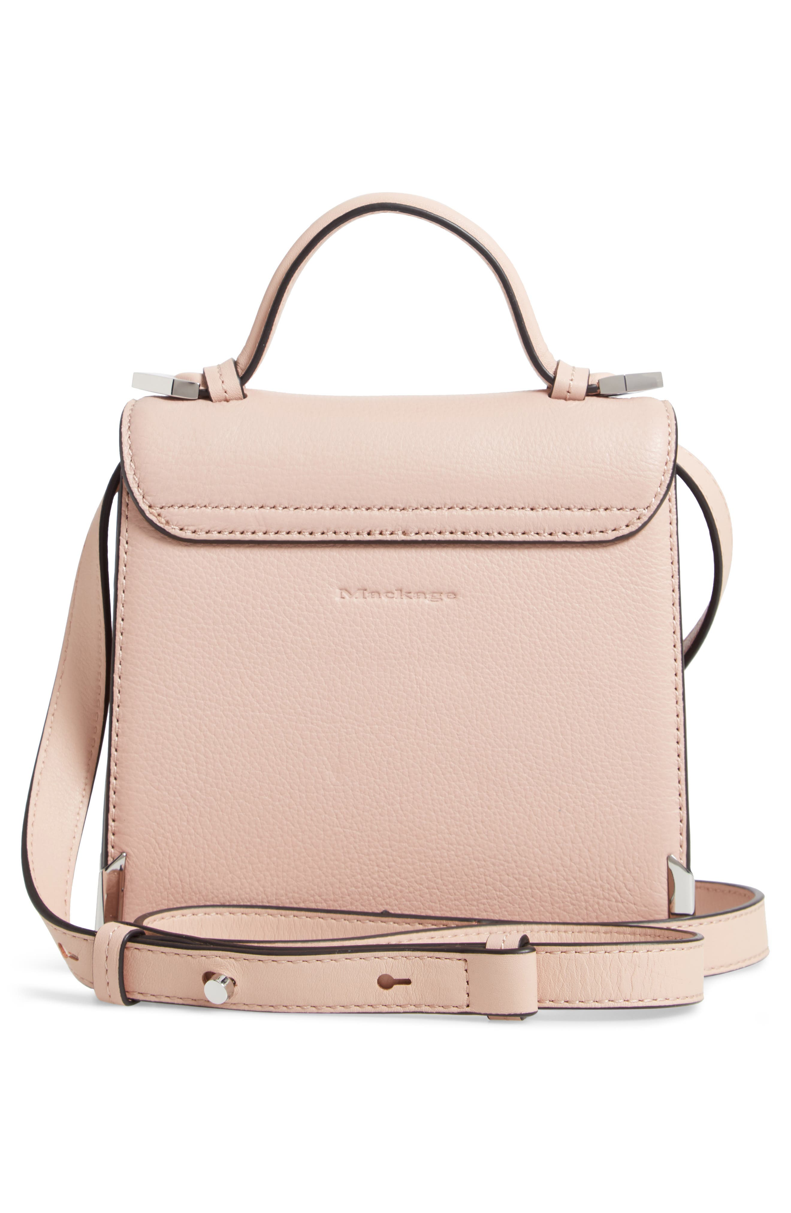 Mini Rubie Leather Shoulder Bag,                             Alternate thumbnail 3, color,                             PETAL/ GUNMETAL