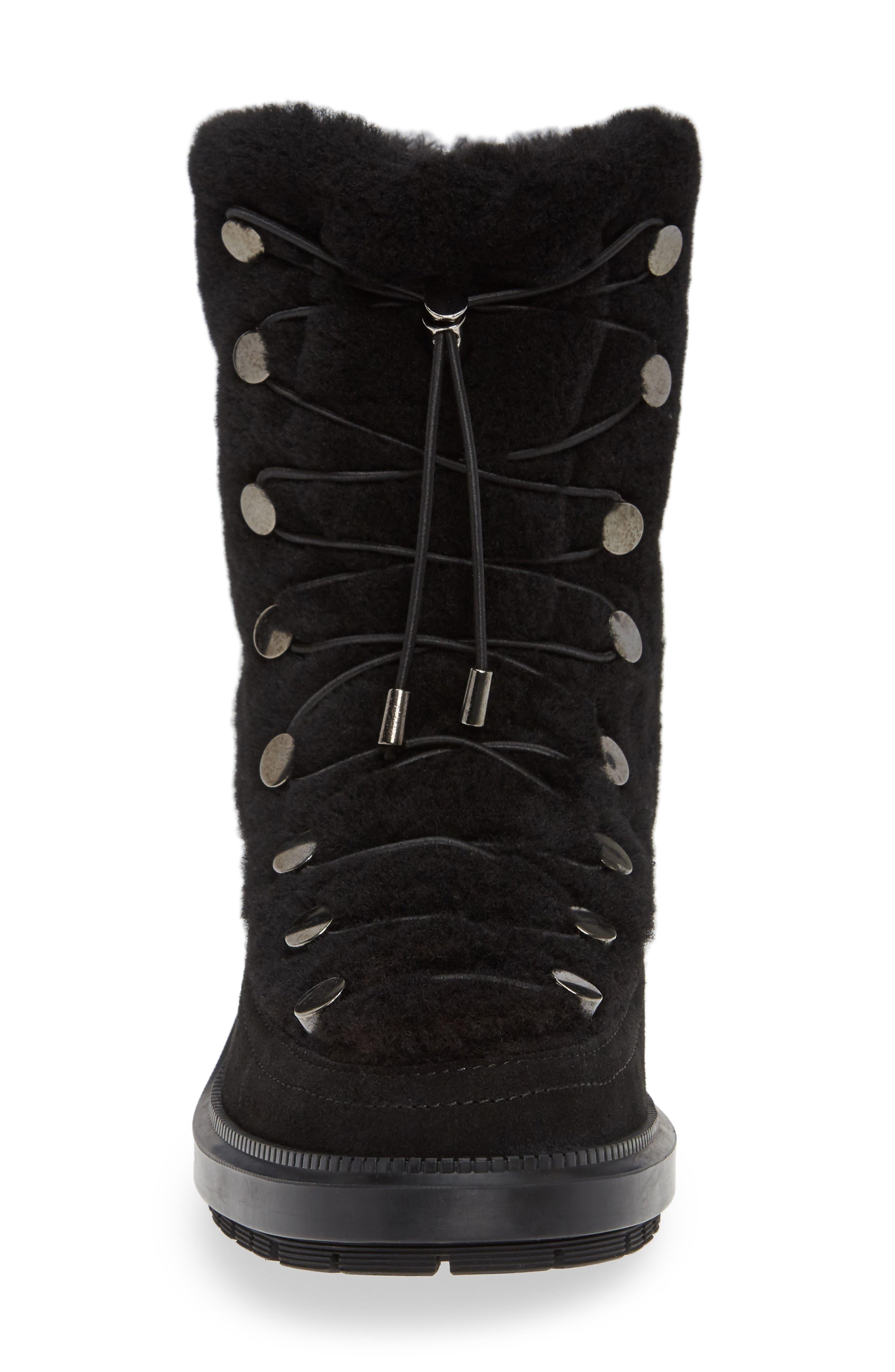 Lorena Genuine Shearling Boot,                             Alternate thumbnail 4, color,                             BLACK