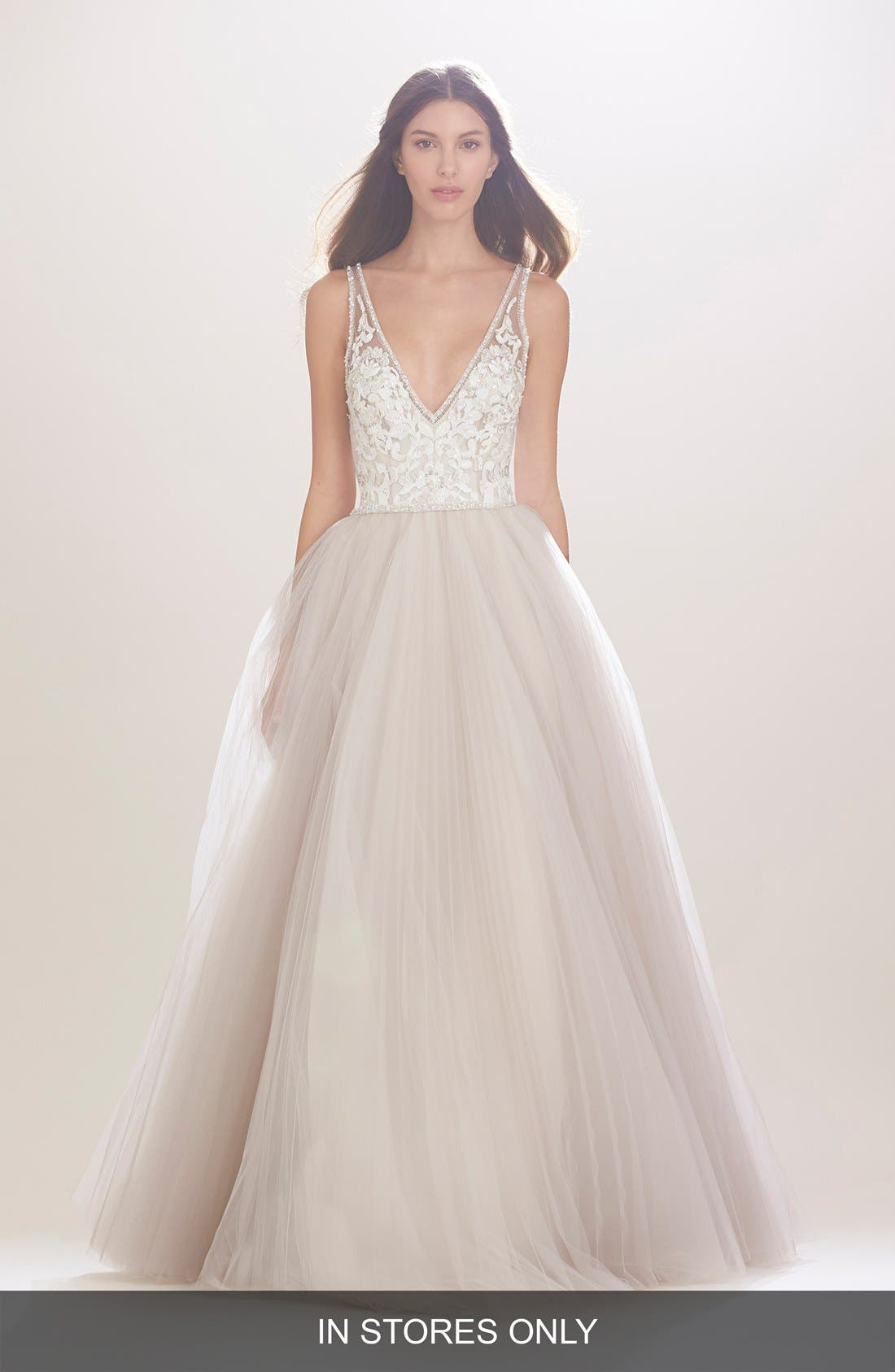 Mercedes V-Neck Lace & Tulle Gown,                             Main thumbnail 1, color,                             TEAROSE