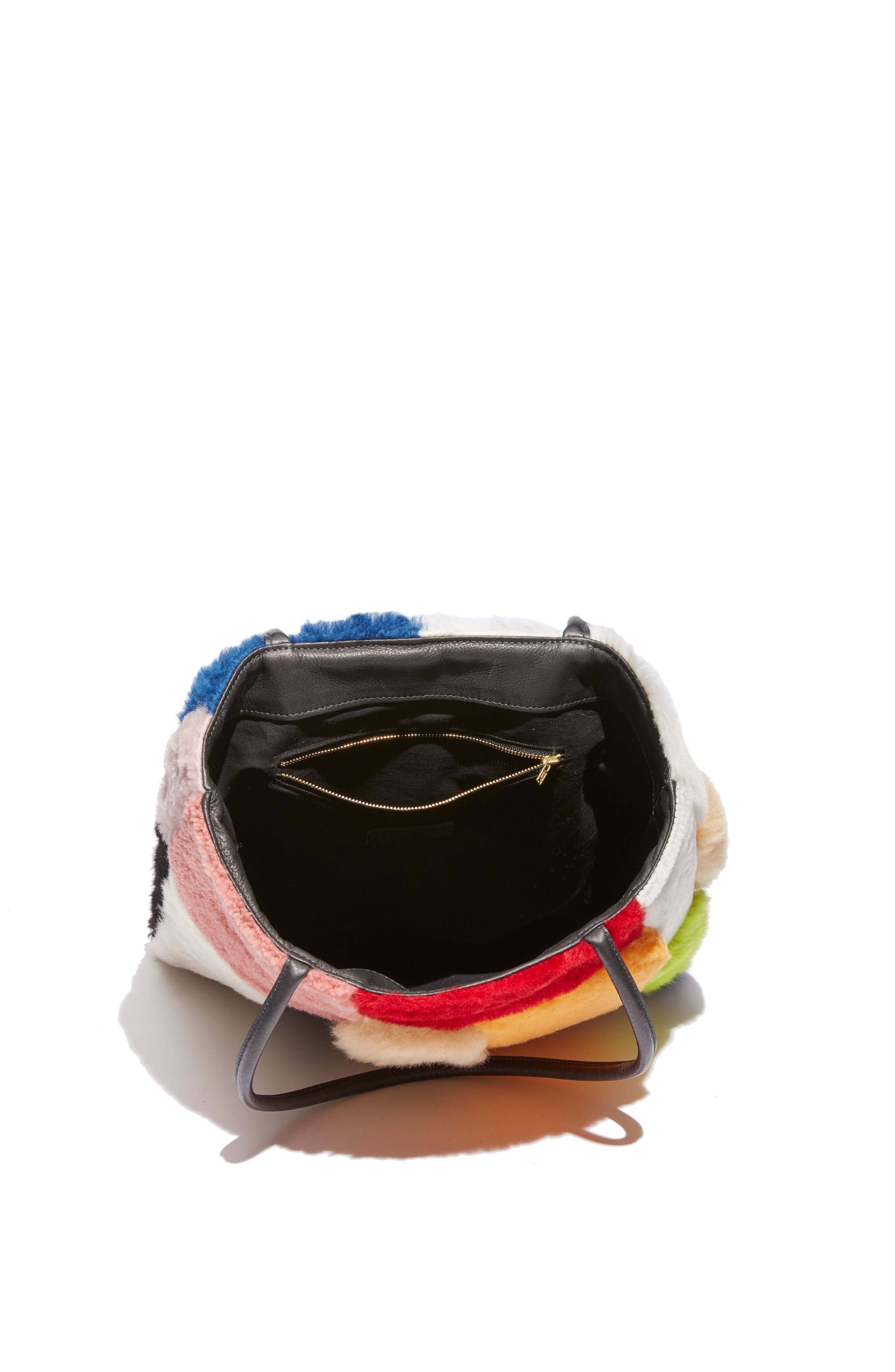 Patchwork Genuine Shearling Tote,                             Alternate thumbnail 4, color,                             MULTI COLOR