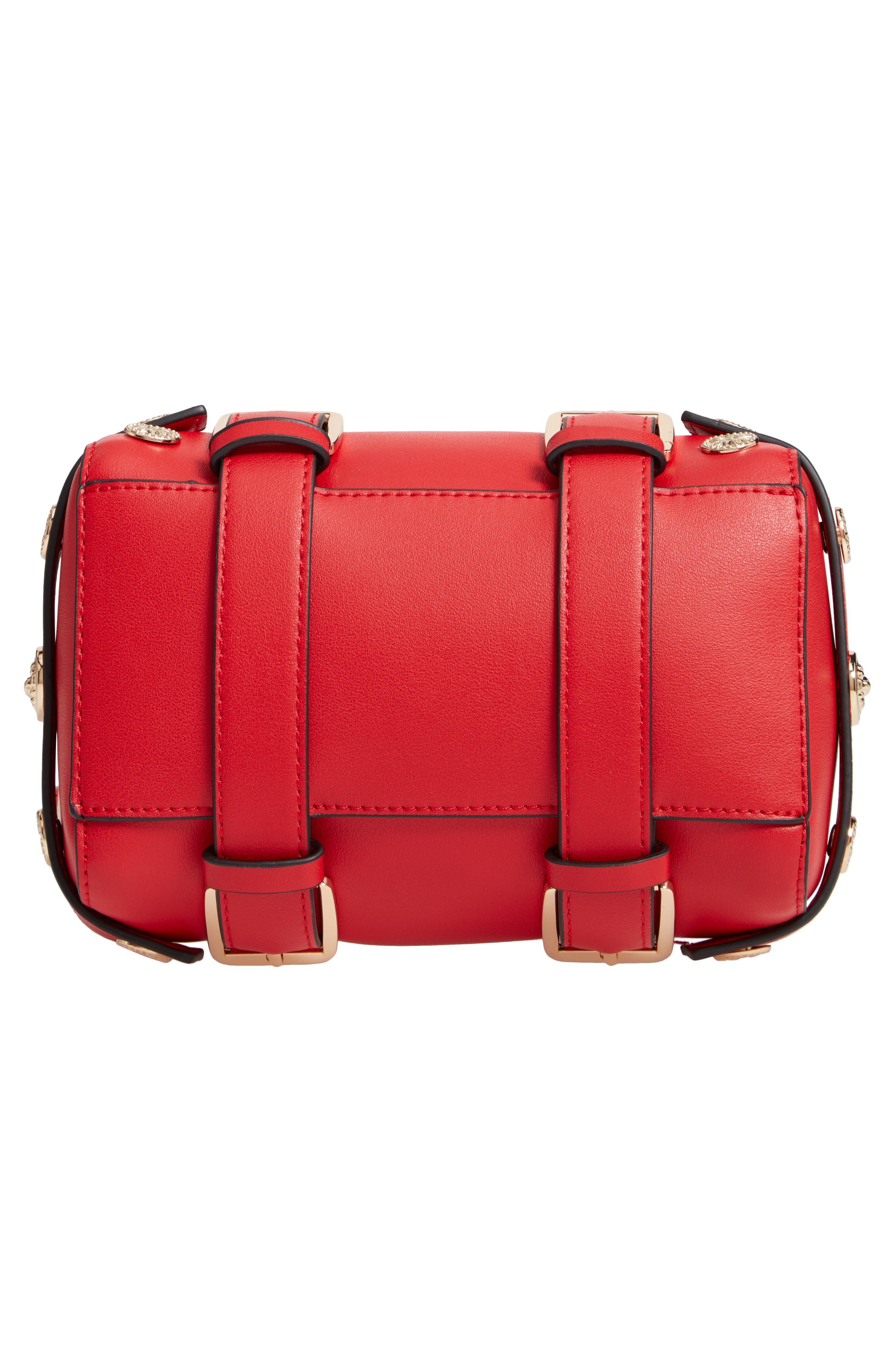 Bianca Studded Faux Leather Bowler Bag,                             Alternate thumbnail 6, color,                             RED MULTI